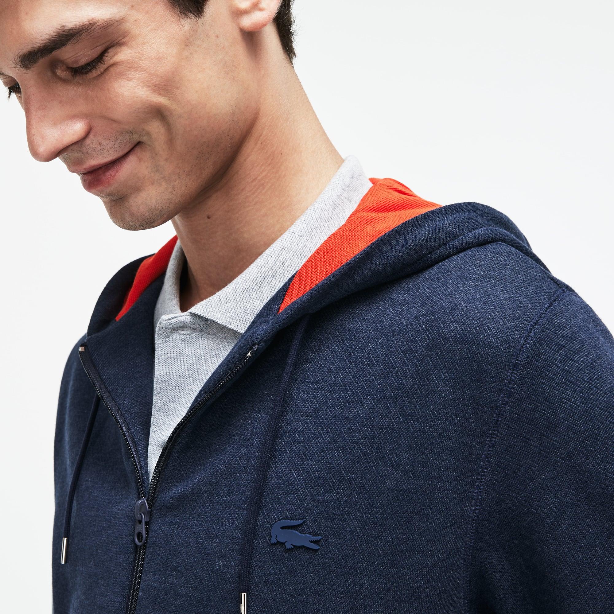 Lacoste Motion-sweatshirt fleece met rits en capuchon