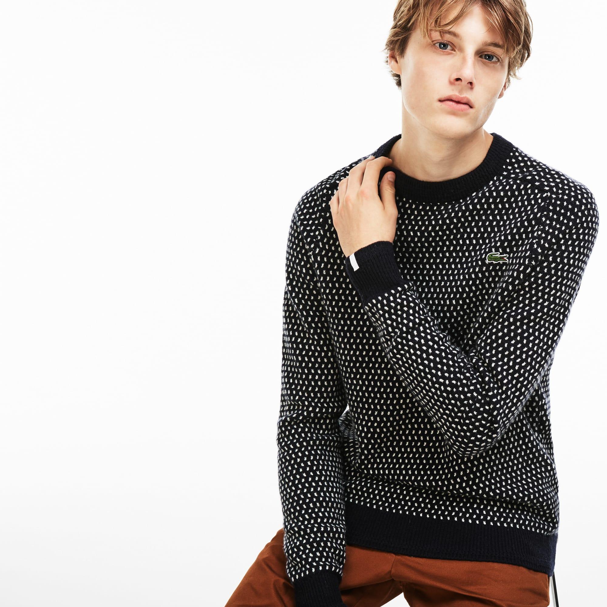 Men's Lacoste LIVE Crew Neck Wool Blend Mini Jacquard Sweater