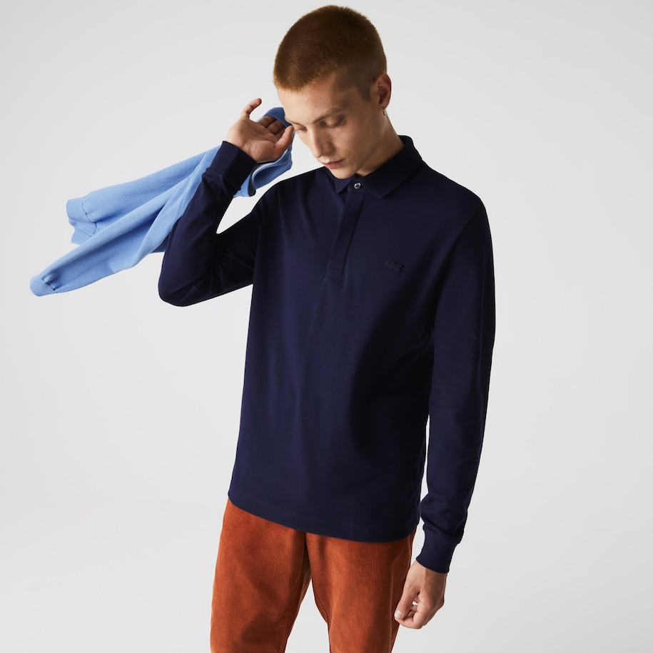 Lacoste Paris Polo heren regular fit katoenpiqué met stretch en lange mouwen