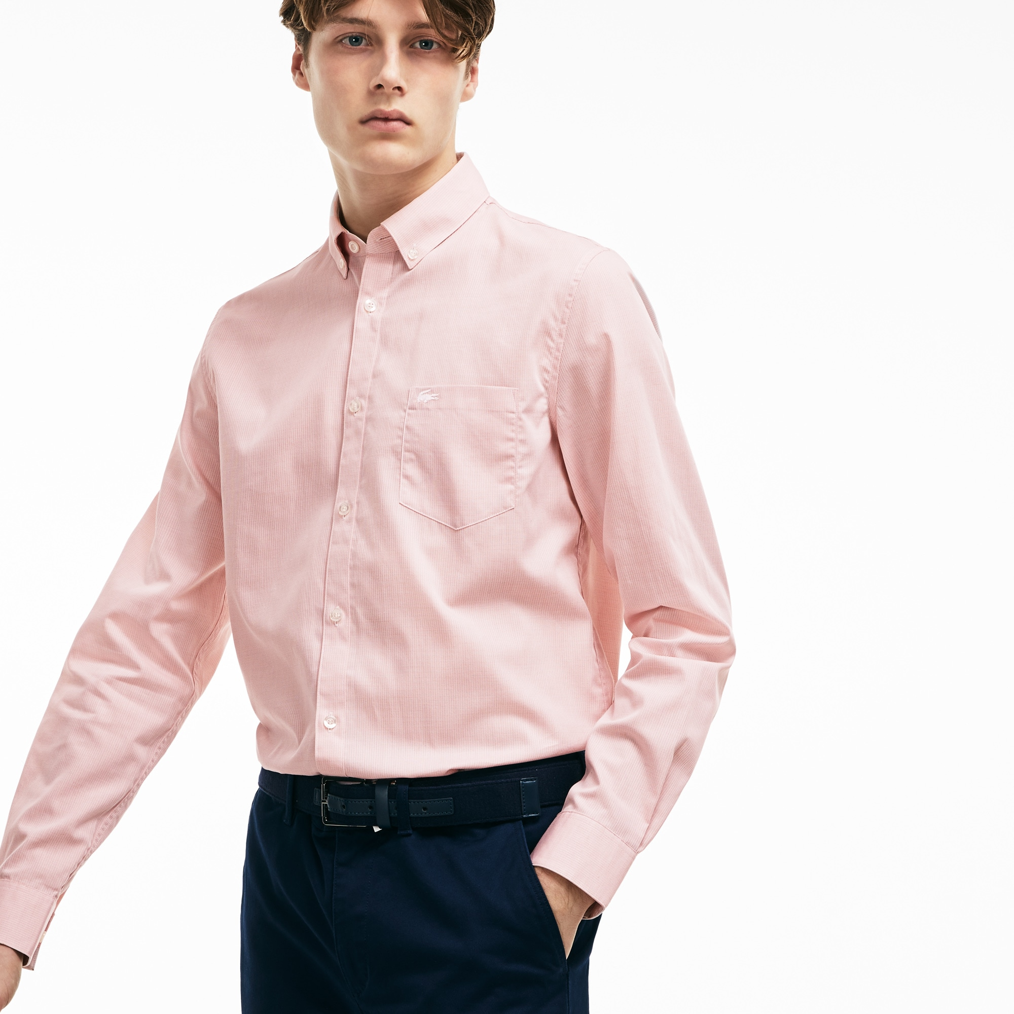 Men's Regular Fit Texturized Poplin Shirt