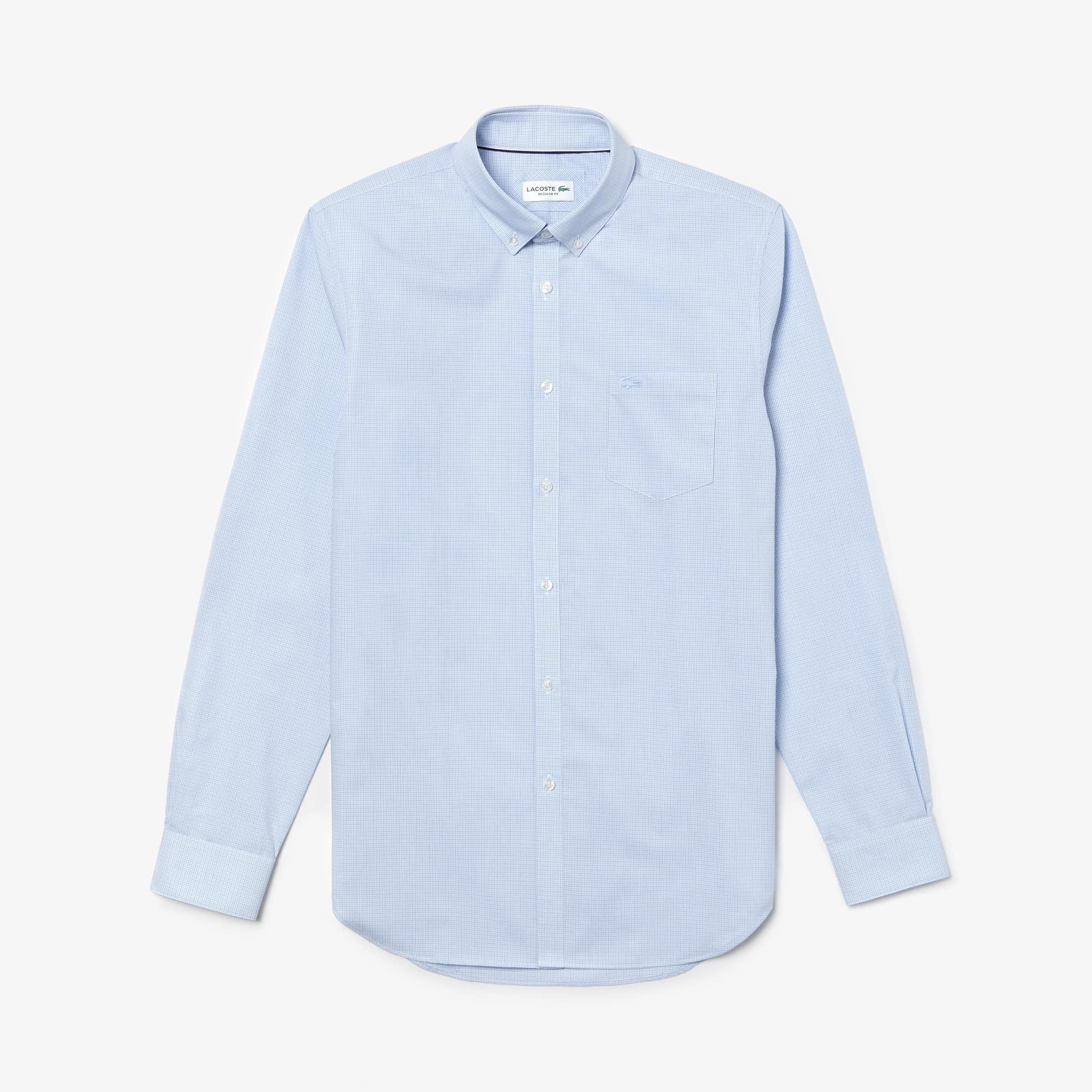 Shirt heren regular fit katoenpopeline met mini-ruitpatroon