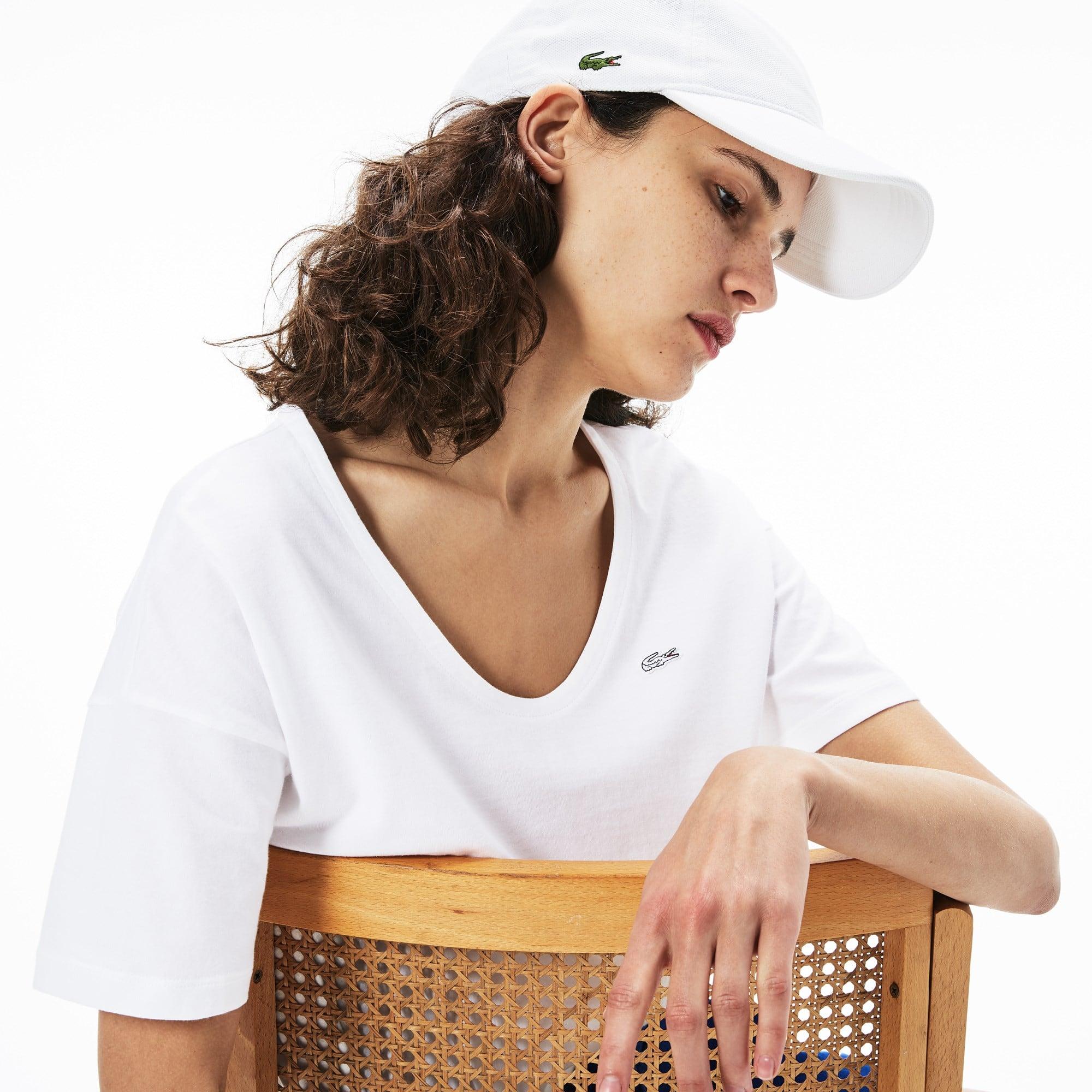 T-shirt dames brede hals zachte katoenjersey