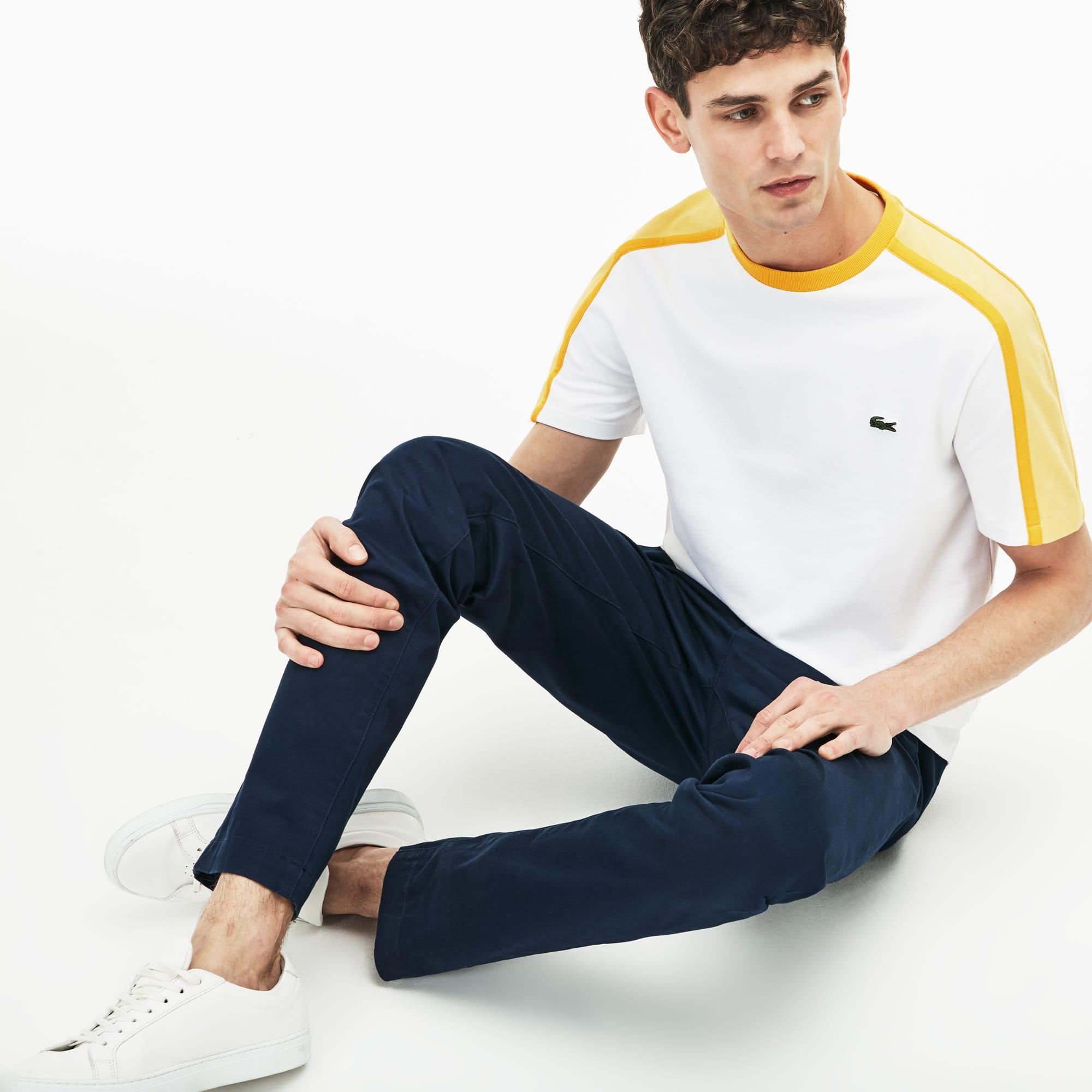 Made in France-T-shirt heren ronde hals technisch piqué met colorblock