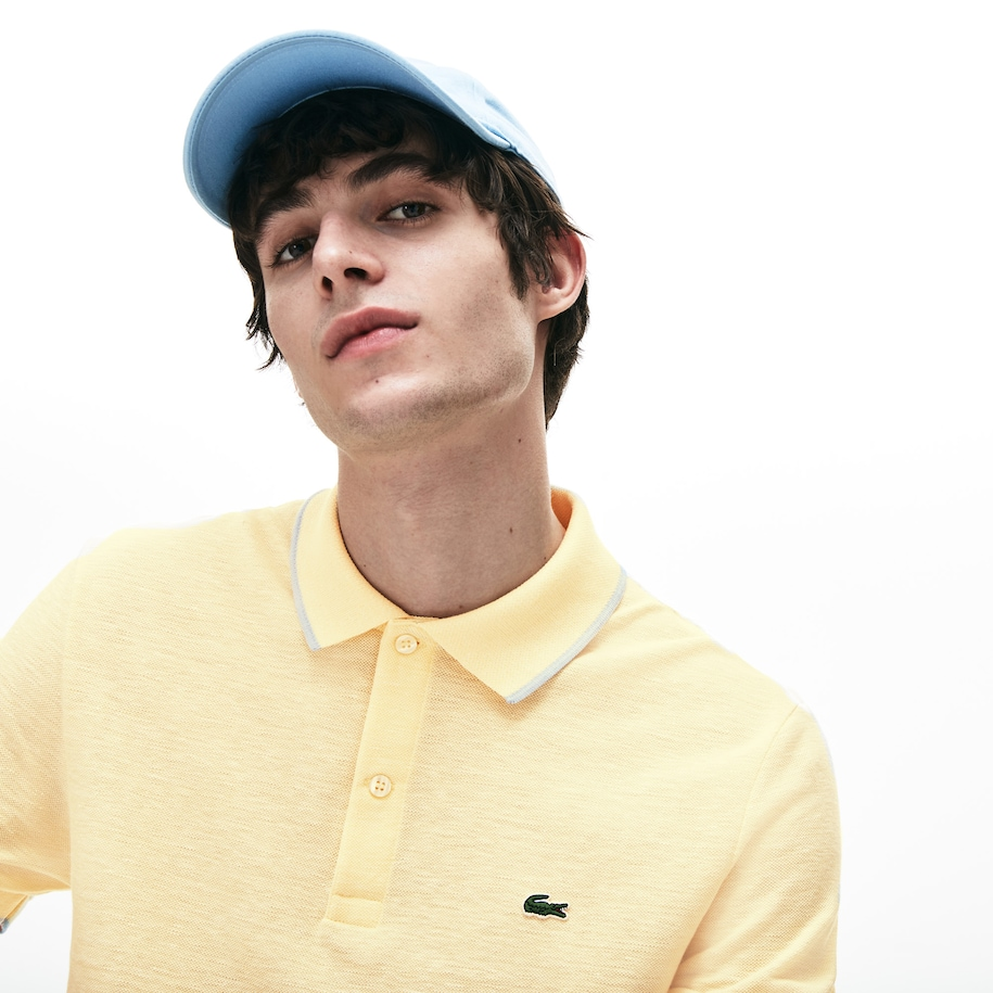 Lacoste-polo heren regular fit getextureerd kaviaarpiqué