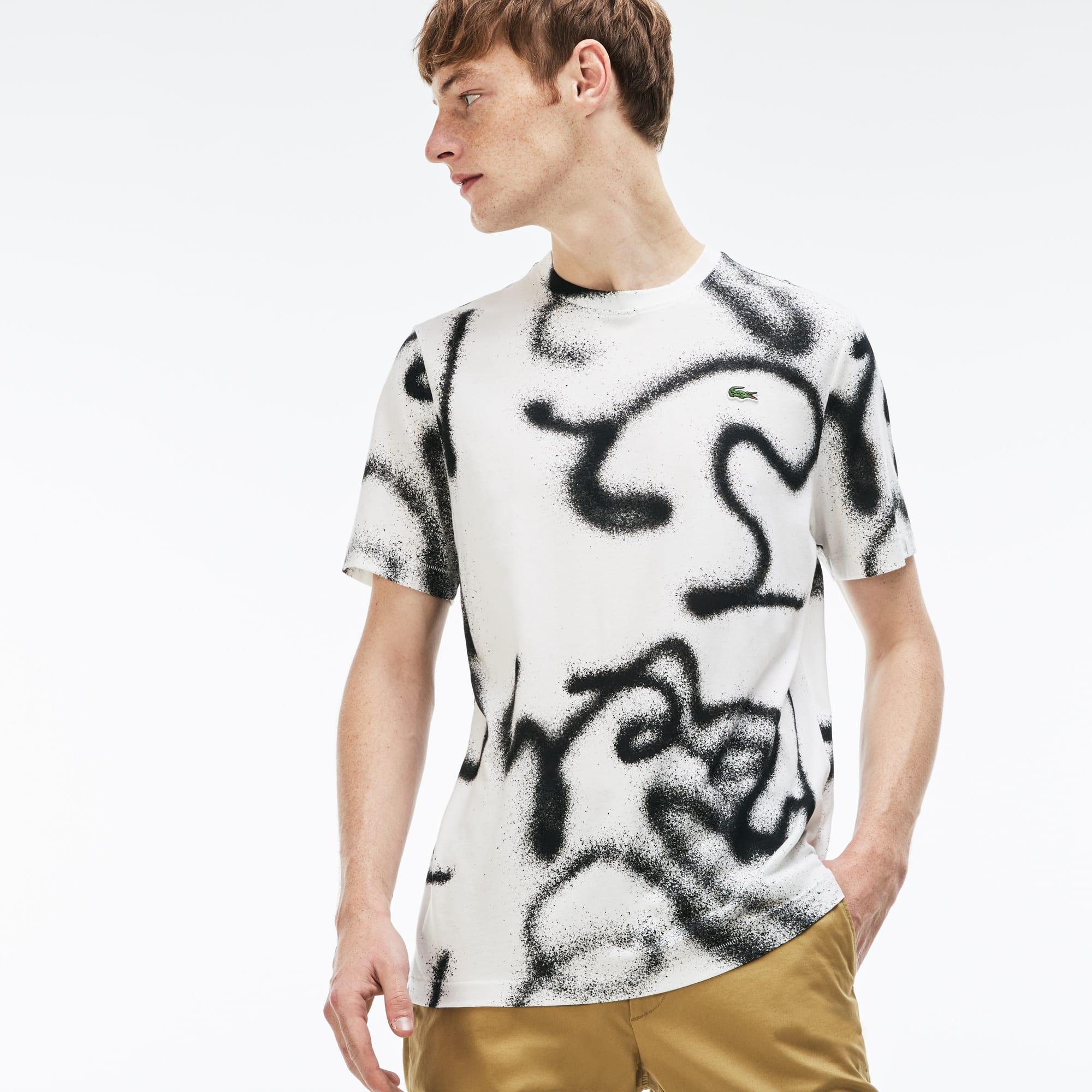 Lacoste LIVE-T-shirt heren ronde hals graffitiprint jersey