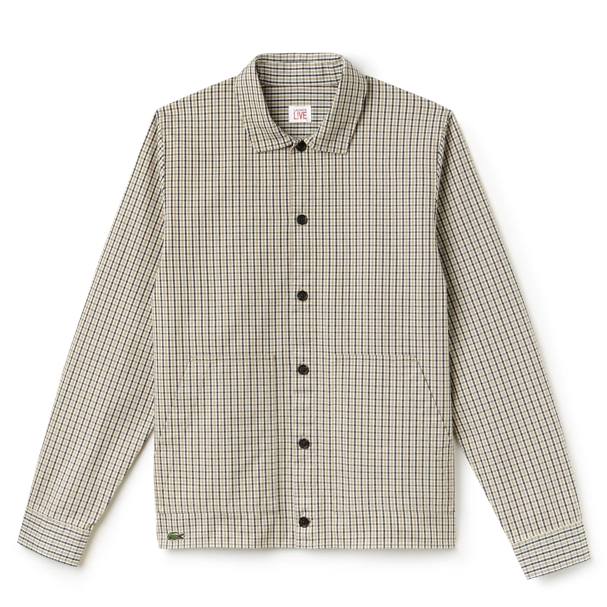 Lacoste LIVE-shirt heren slim fit geruit katoenflanel