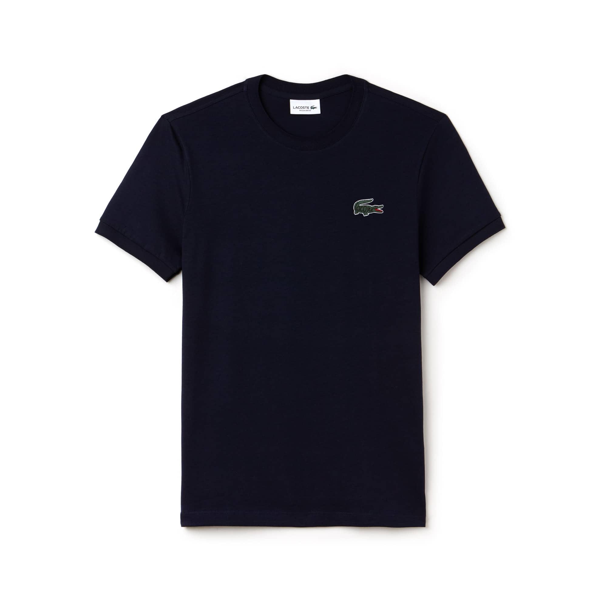 T-shirt heren ronde hals katoenjersey met Lacoste-letters en krokodil