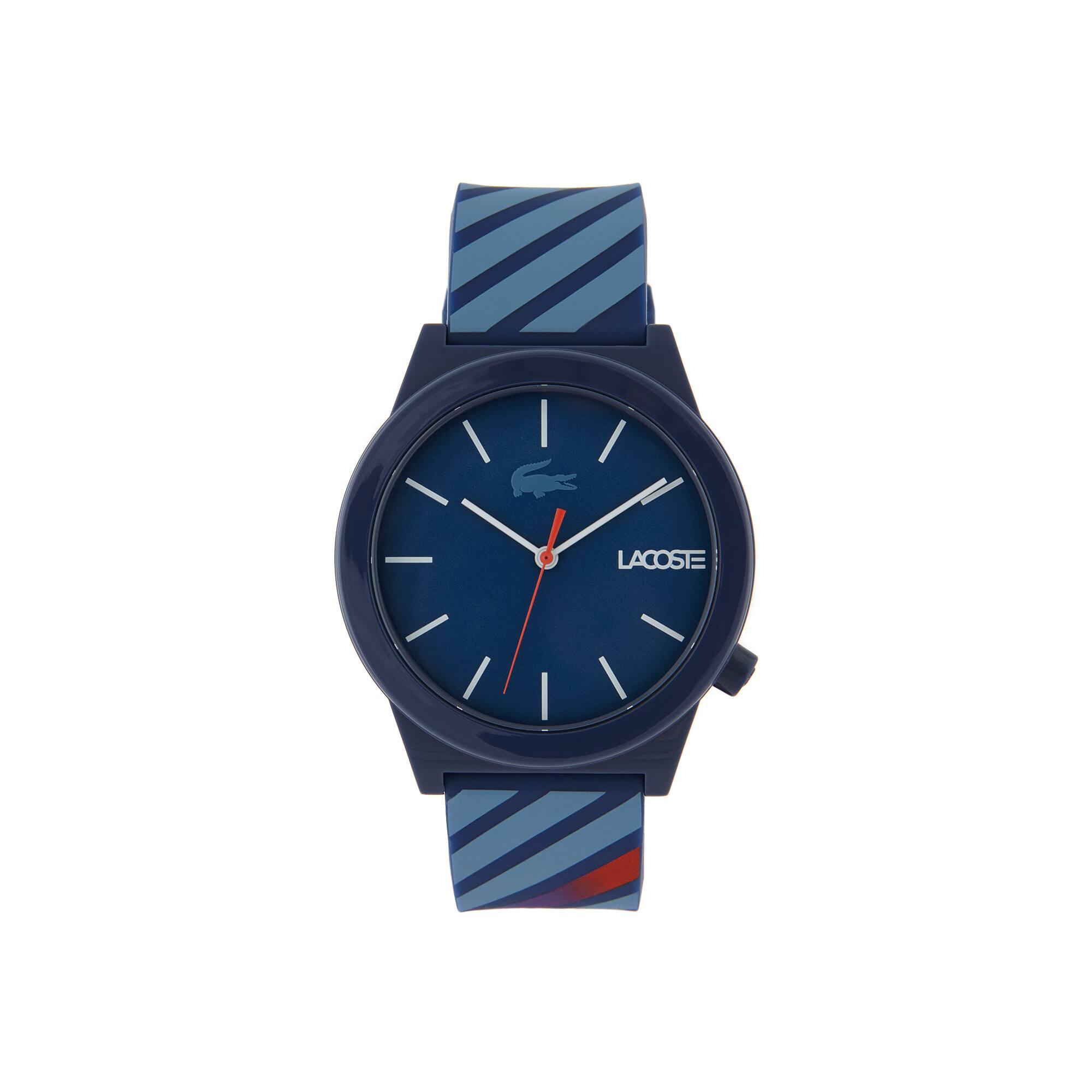 Men Motion Horloge met Blauwen Siliconen Armband