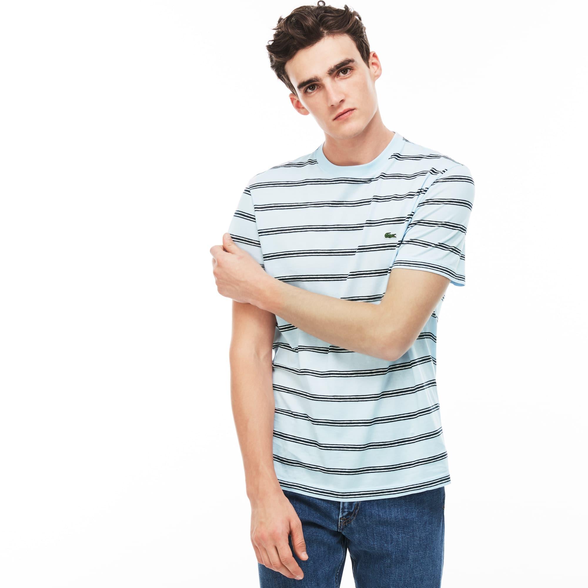 T-shirt heren ronde hals gestreept linnen en jersey