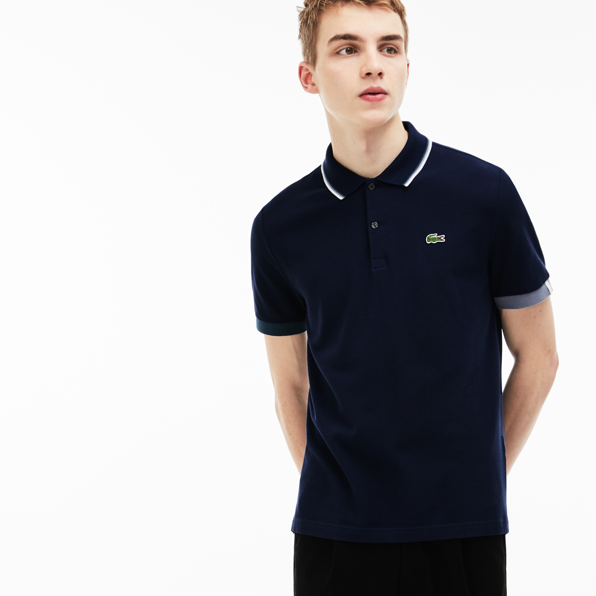 Men's Lacoste LIVE Slim Fit Piped Neck Petit Piqué Polo Shirt