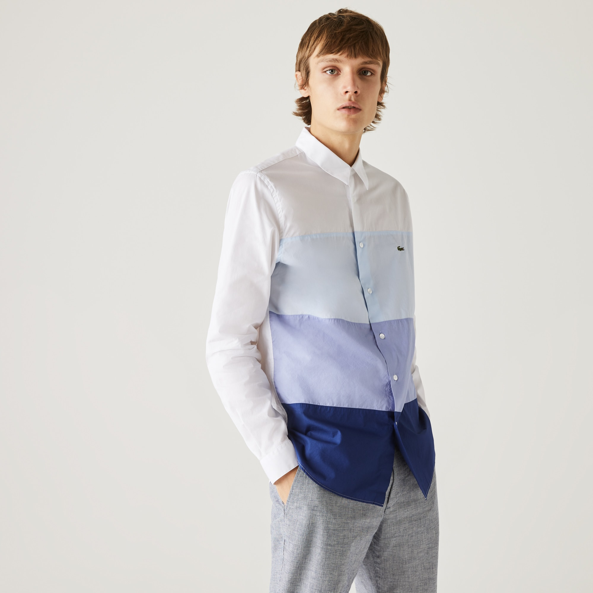 Overhemd heren regular fit katoen met colorblock