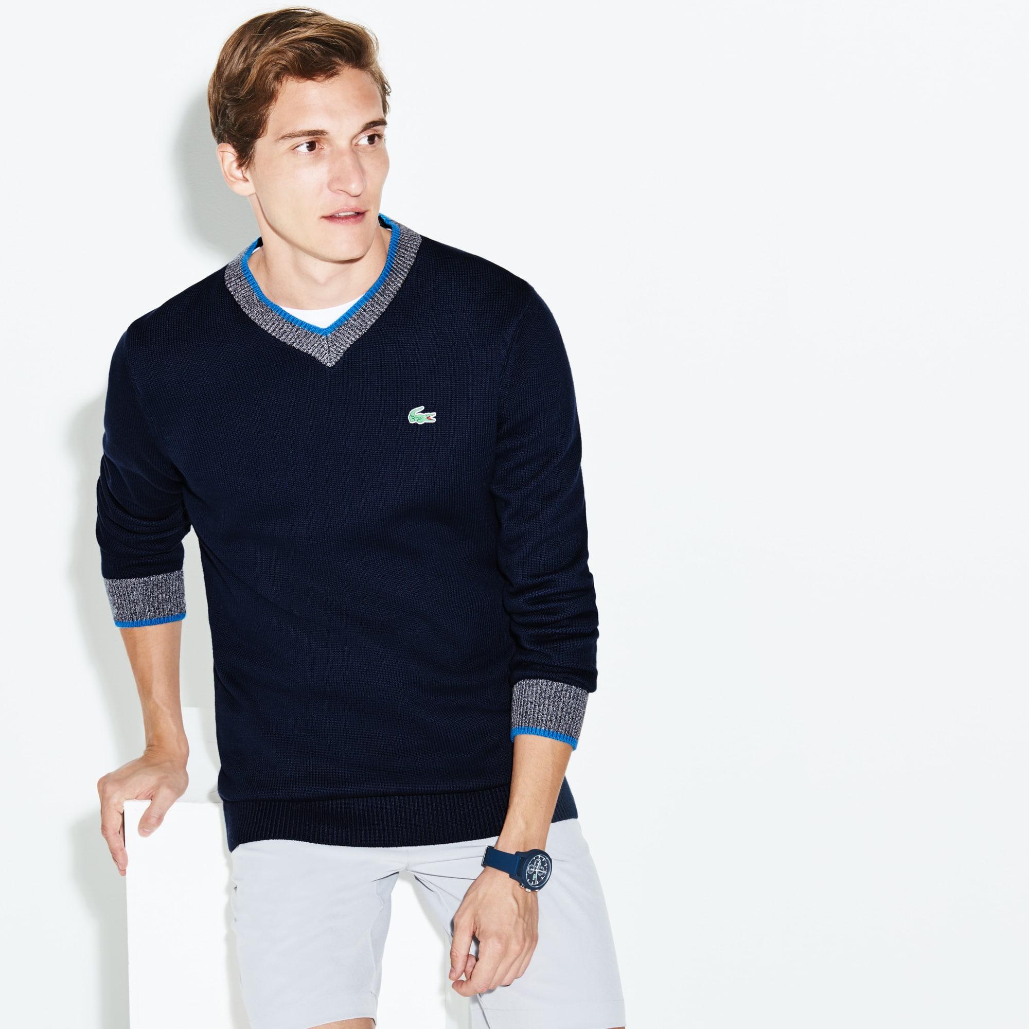 Lacoste SPORT Golf-sweater heren technisch katoenbreiwerk met V-hals
