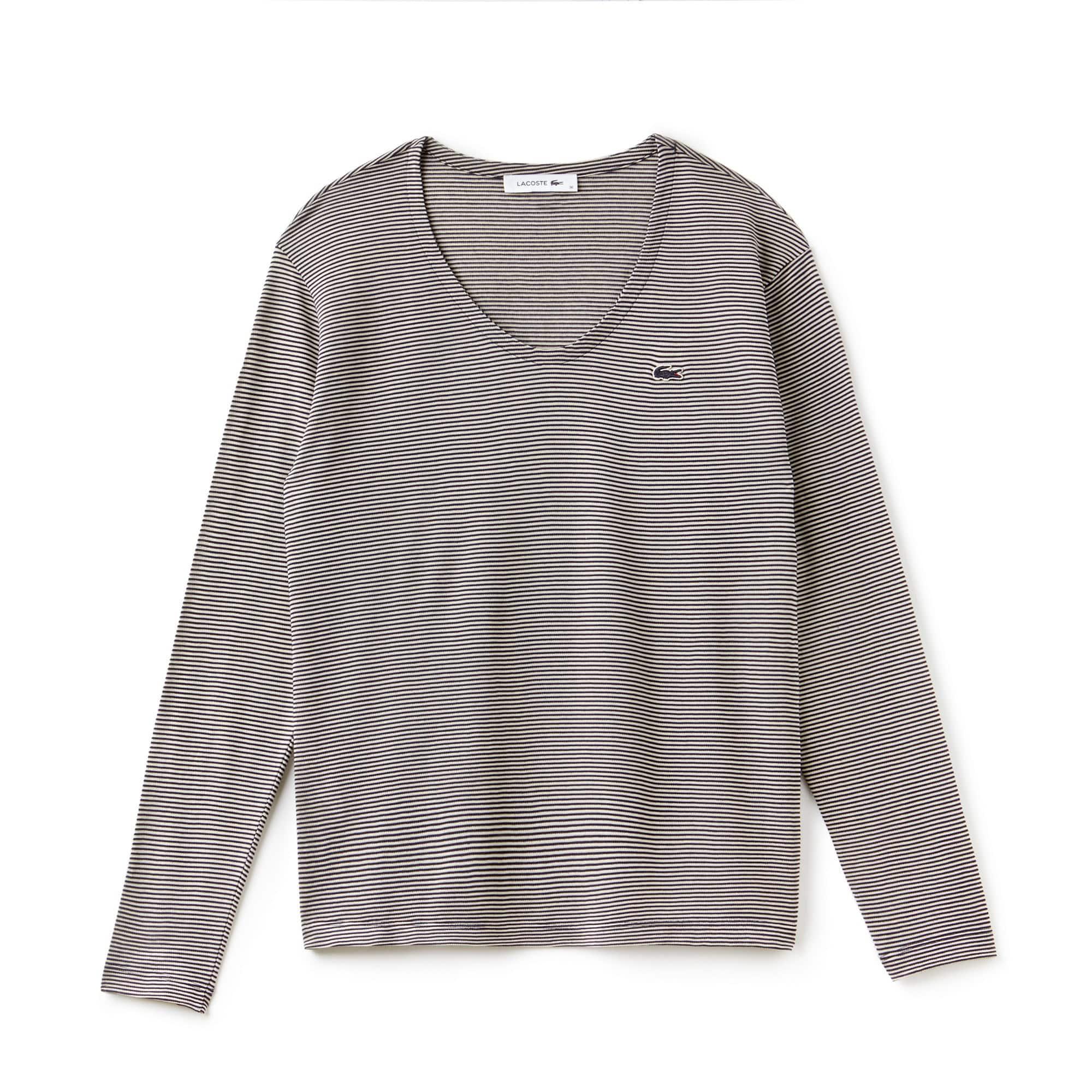 T-shirt dames brede hals ottomanjersey met krijtstrepen