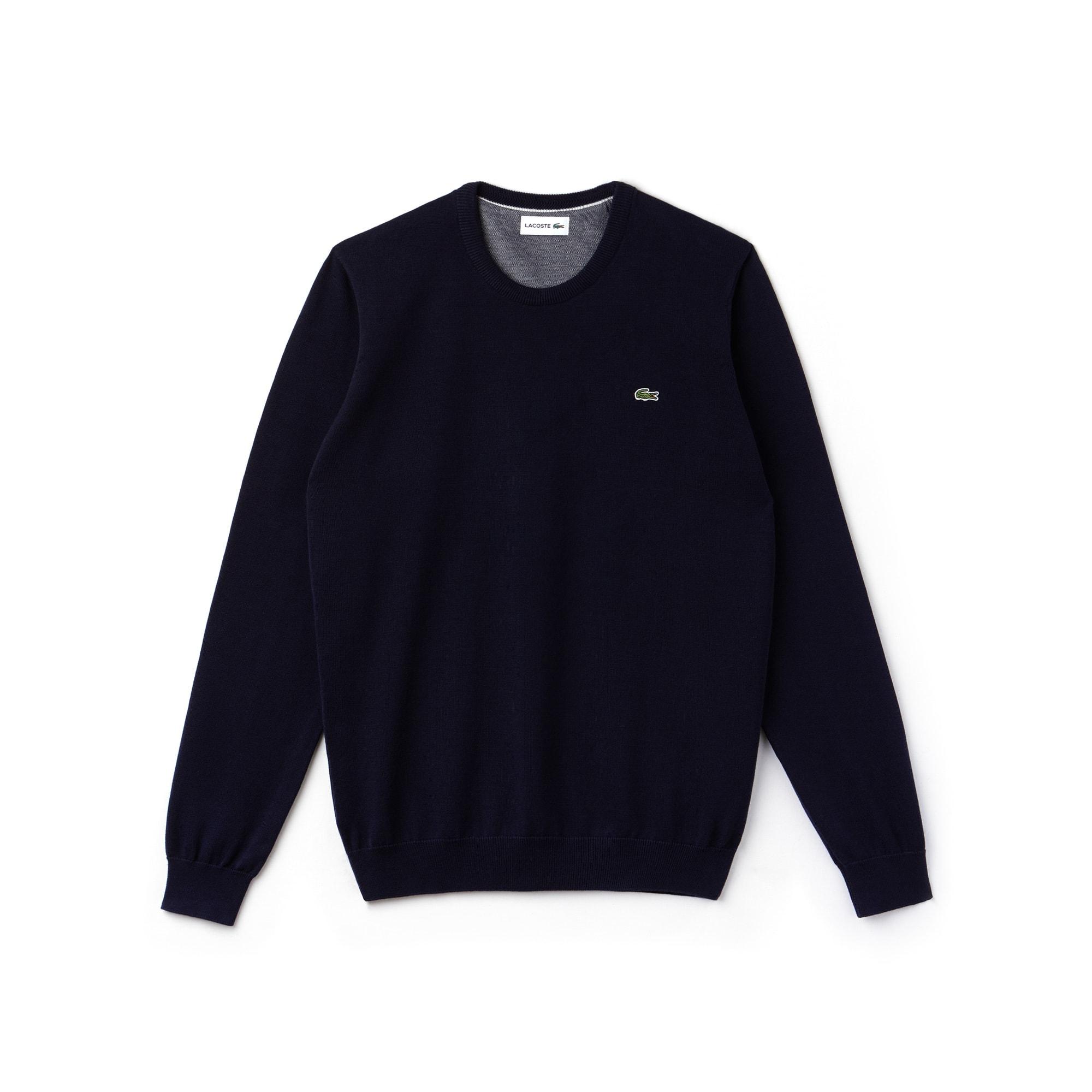 Sweatshirt heren ronde hals katoenjersey met caviar piqué-accenten