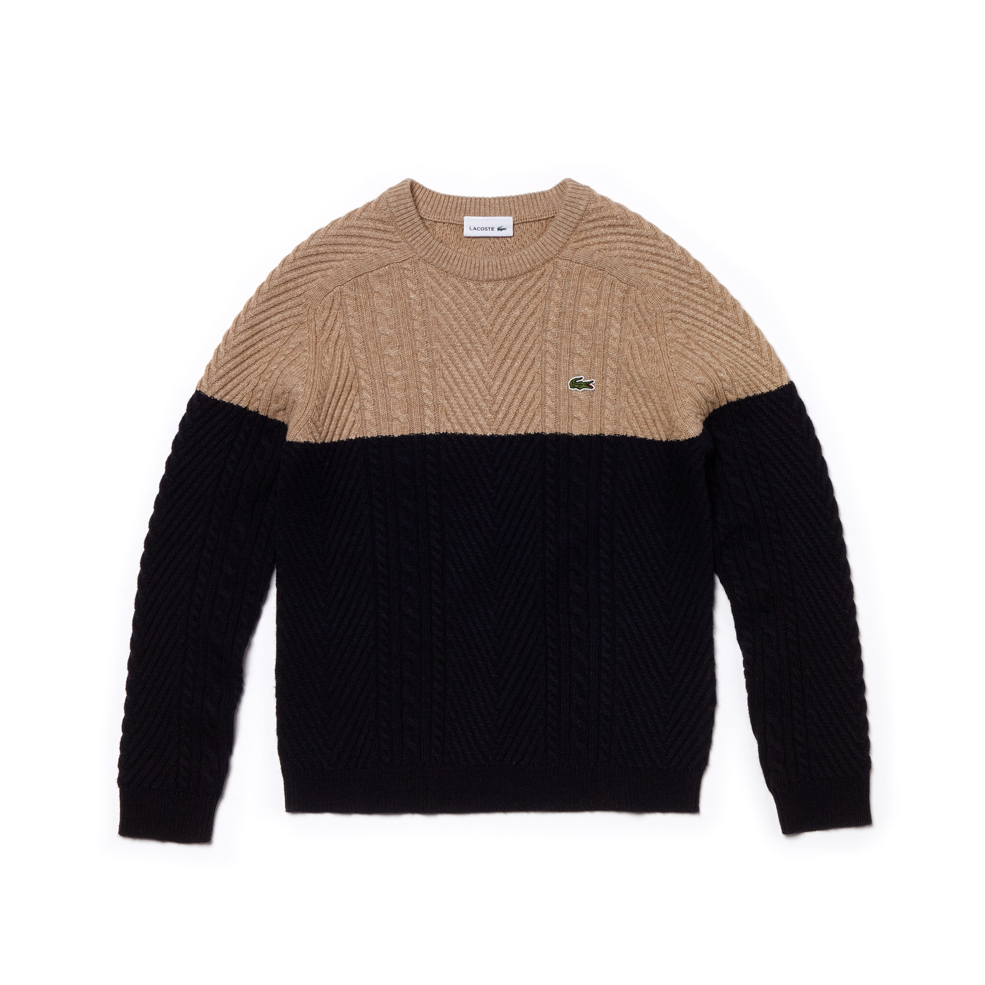 Sweater jongens kabelbreiwerk-katoenmix met ronde hals en colorblock