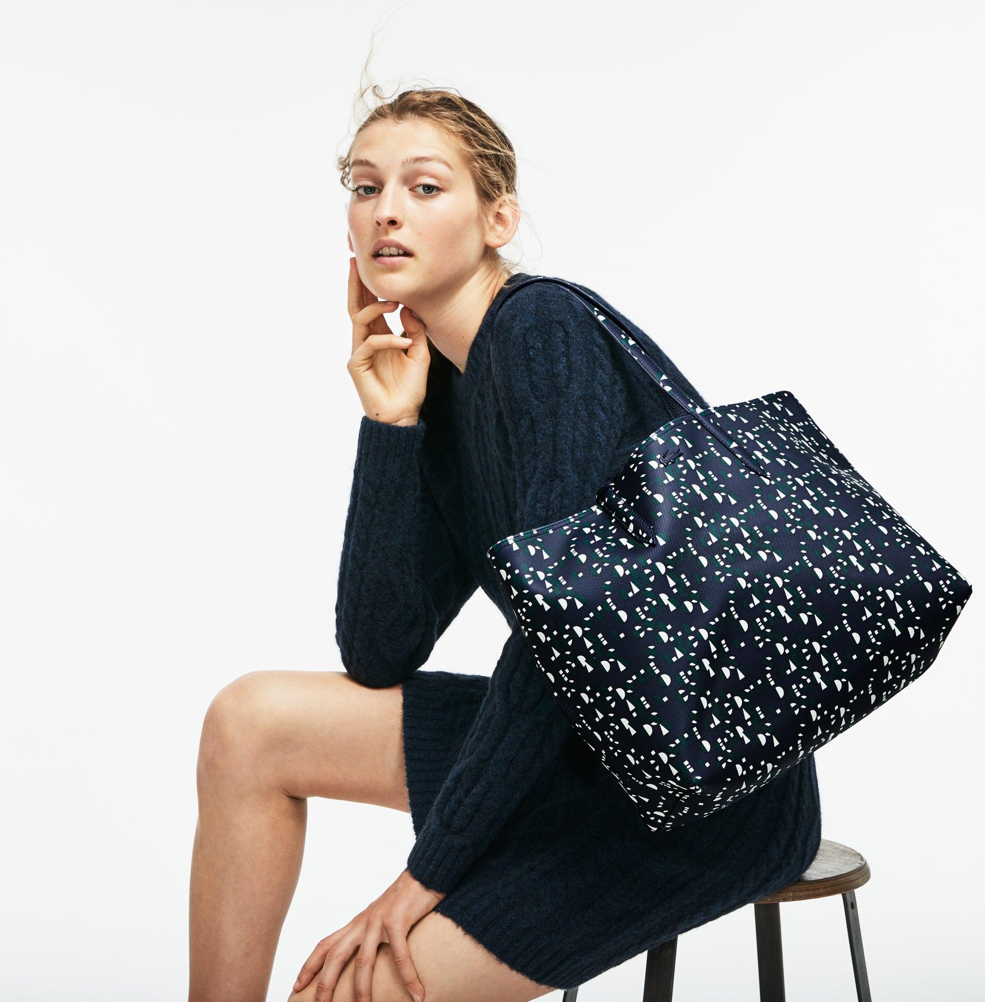 Anna-shopper dames omkeerbaar tweekleurig met Lacoste-print
