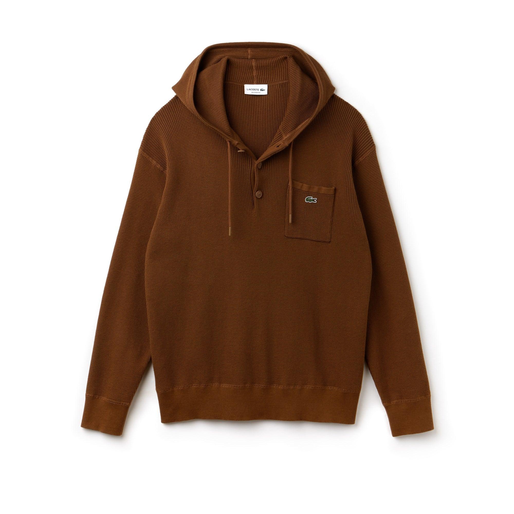Sweatshirt heren katoen honingraat-breiwerk met capuchon