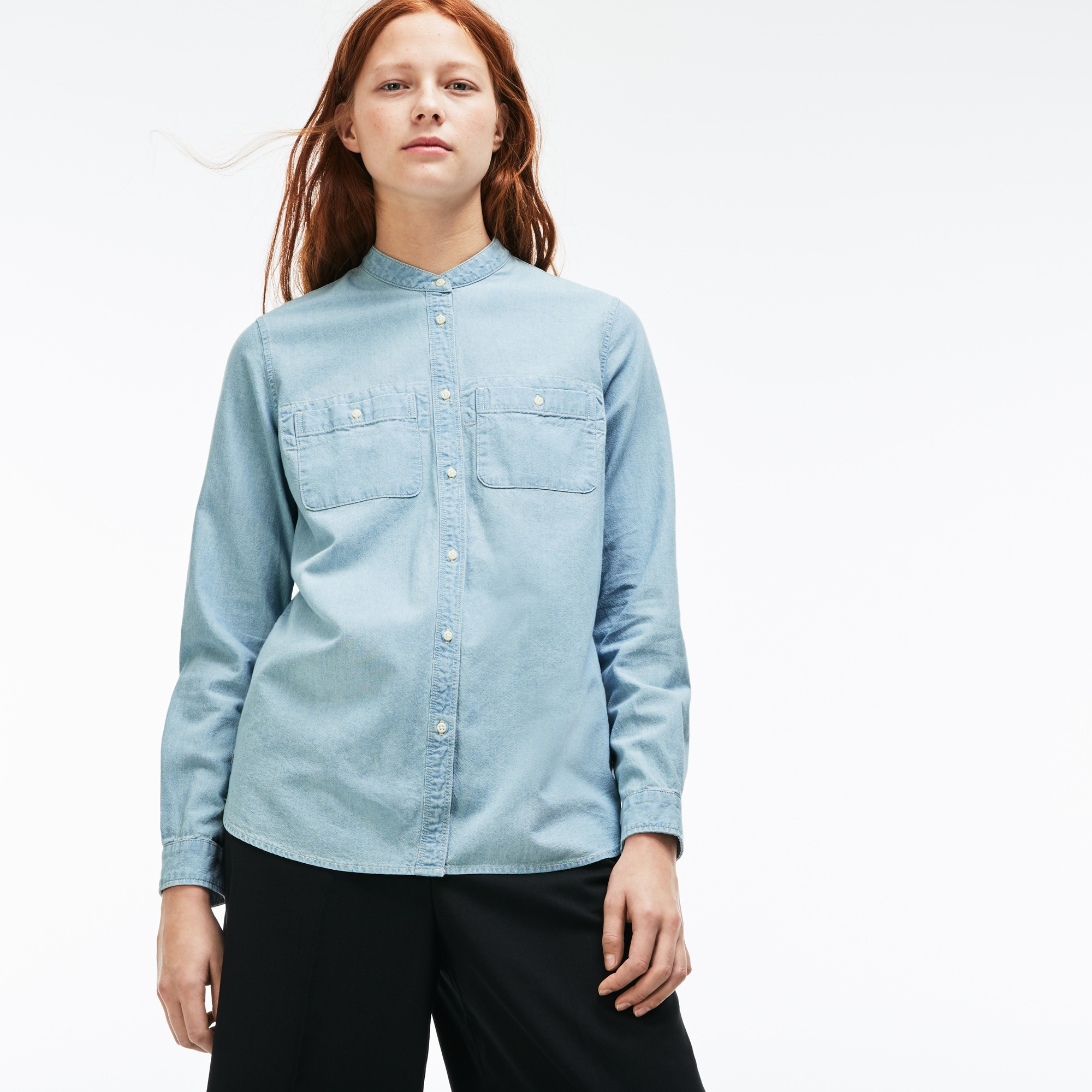 Lacoste LIVE-shirt dames losse pasvorm chambray