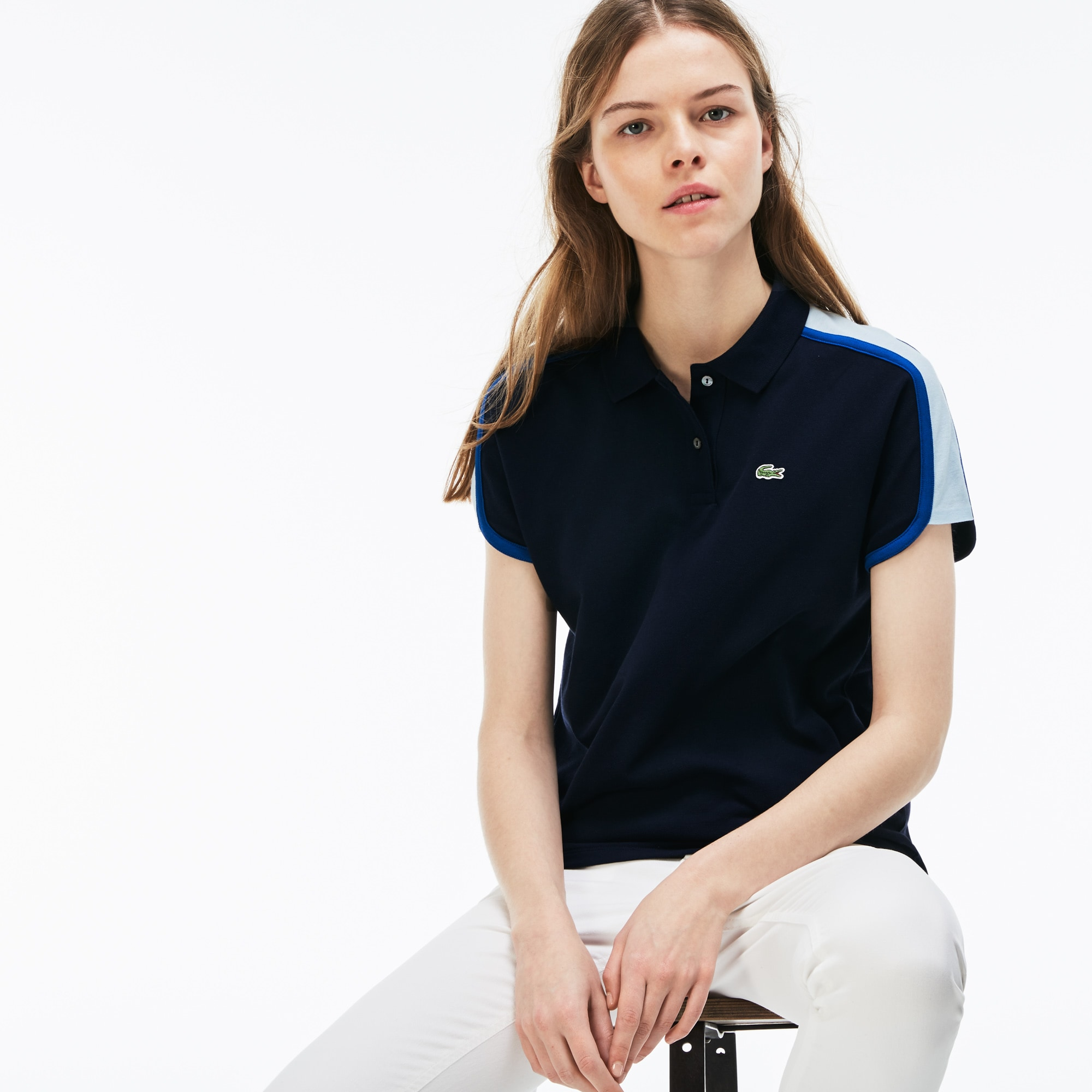 Lacoste Made in France-polo dames colorblock crêpe-piqué