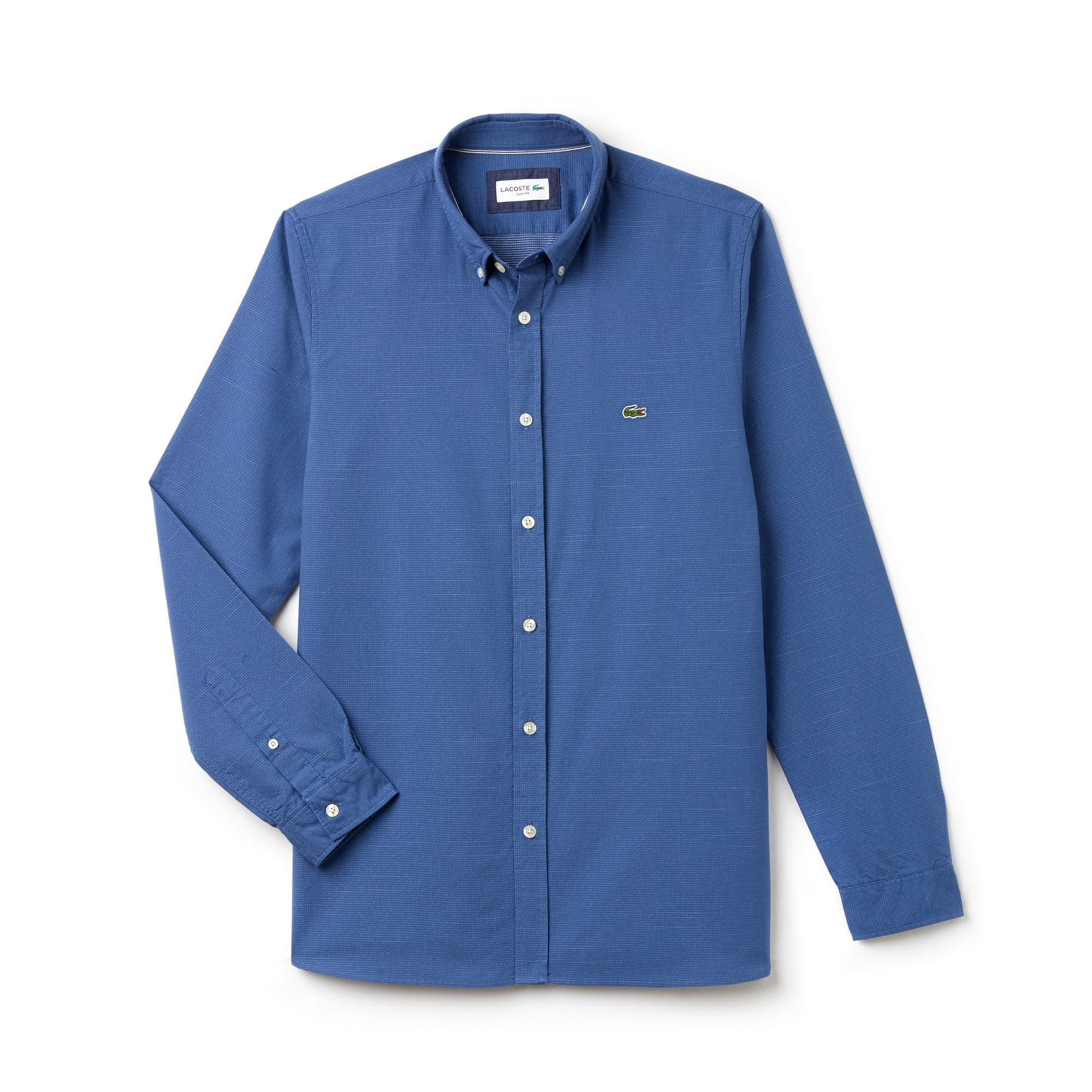 Shirt heren slim fit jacquard-katoenpopeline met bolletjes