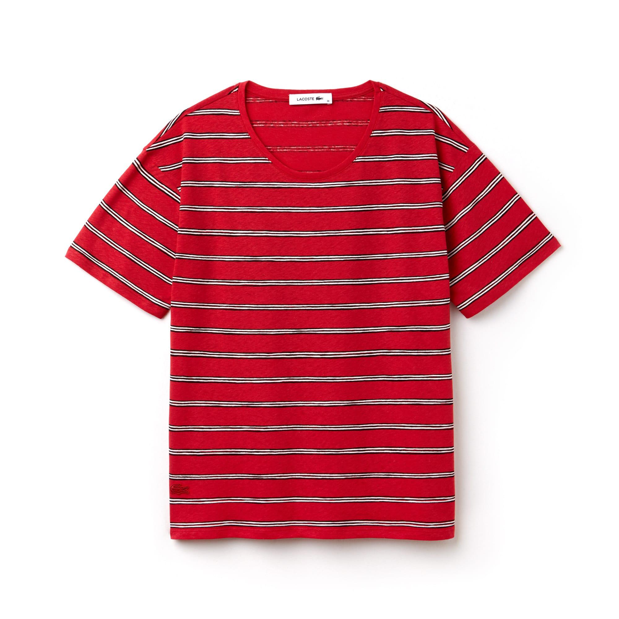 T-shirt met wijde hals van gestreepte katoen met linnen