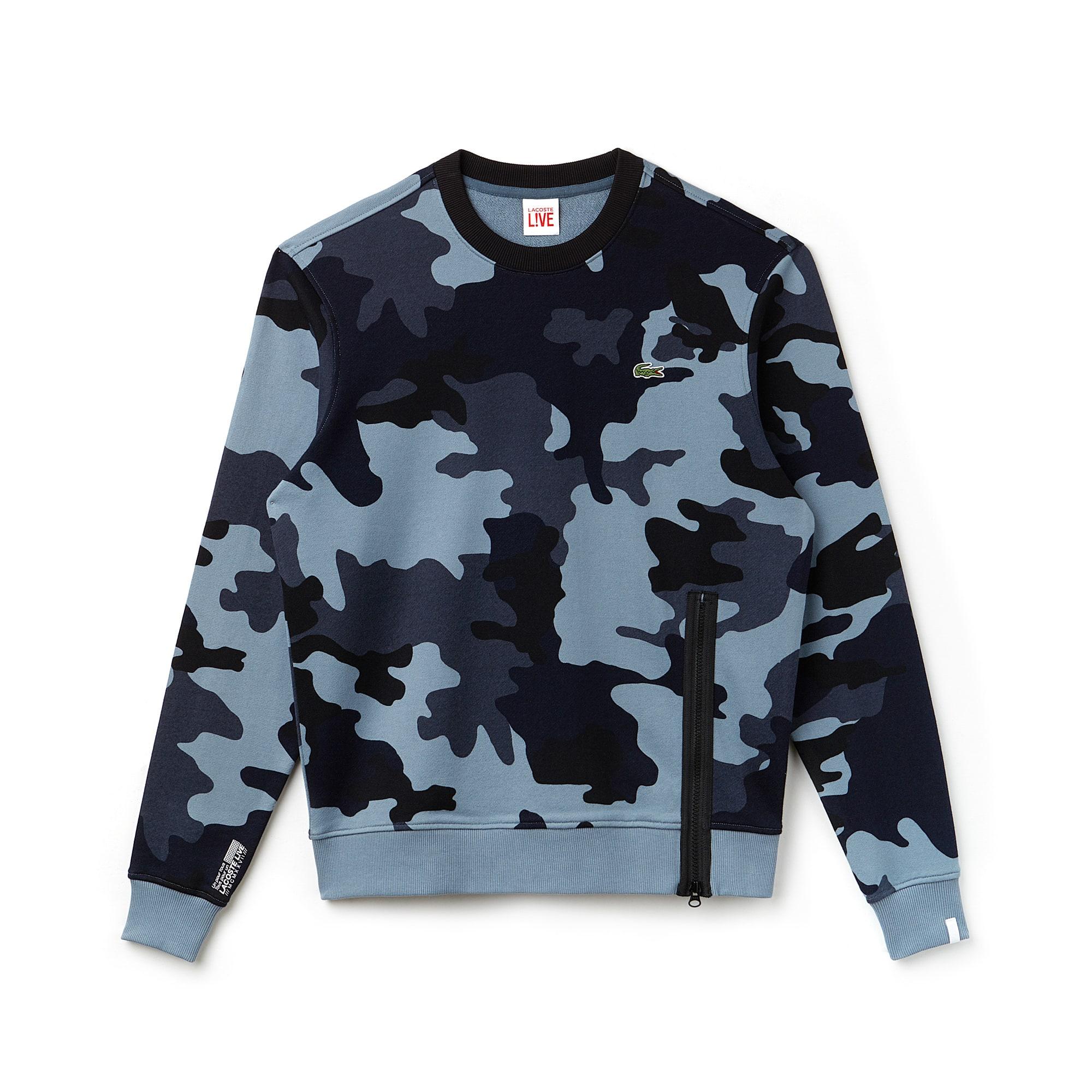 Lacoste LIVE-sweatshirt heren fleece met camouflageprint