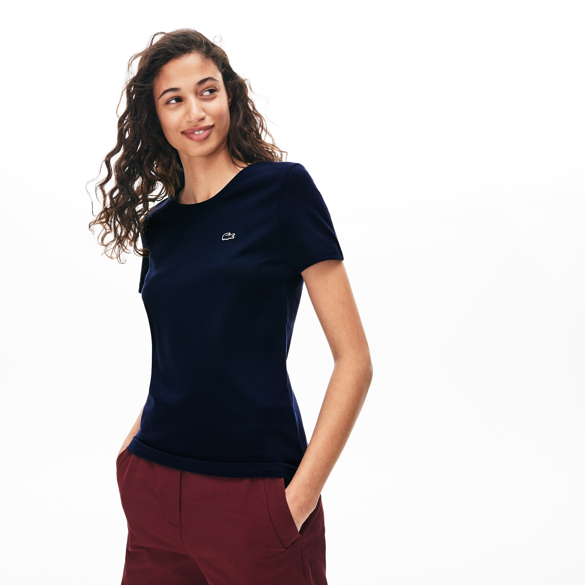 T-shirt dames ronde hals soepele katoenjersey