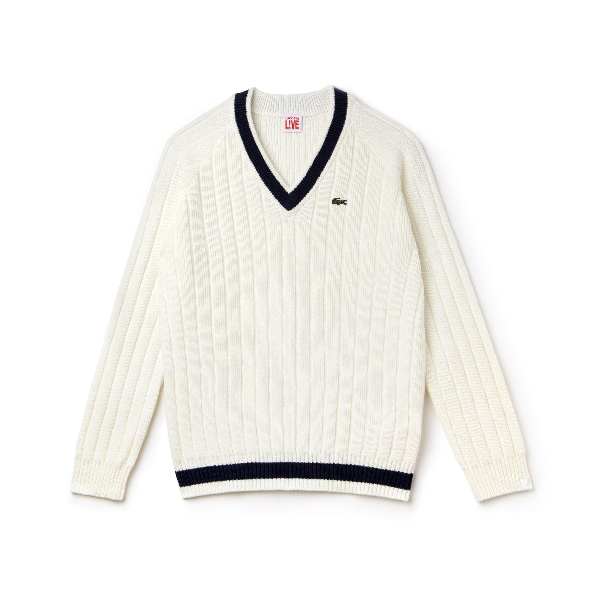 Lacoste LIVE-sweater heren geribd katoen met V-hals en contrasterende strepen