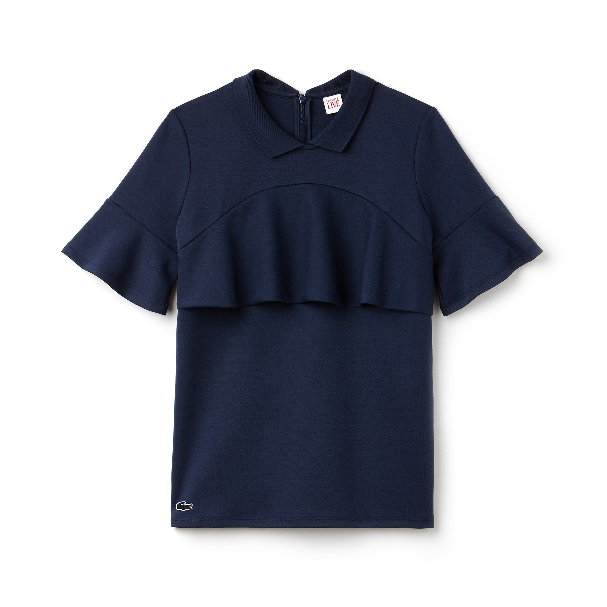 Lacoste LIVE-polo dames boxy pasvorm jersey met ruches