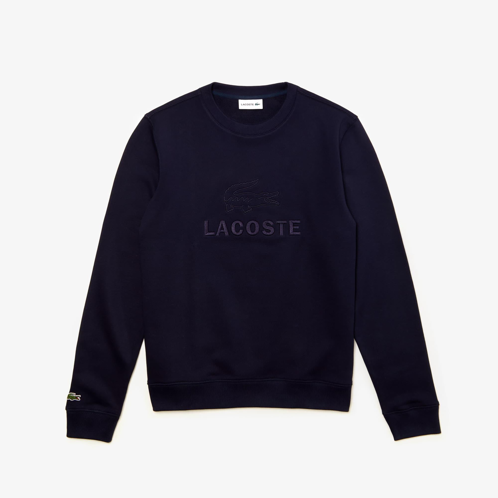 Sweatshirt heren geborduurd logo katoenfleece