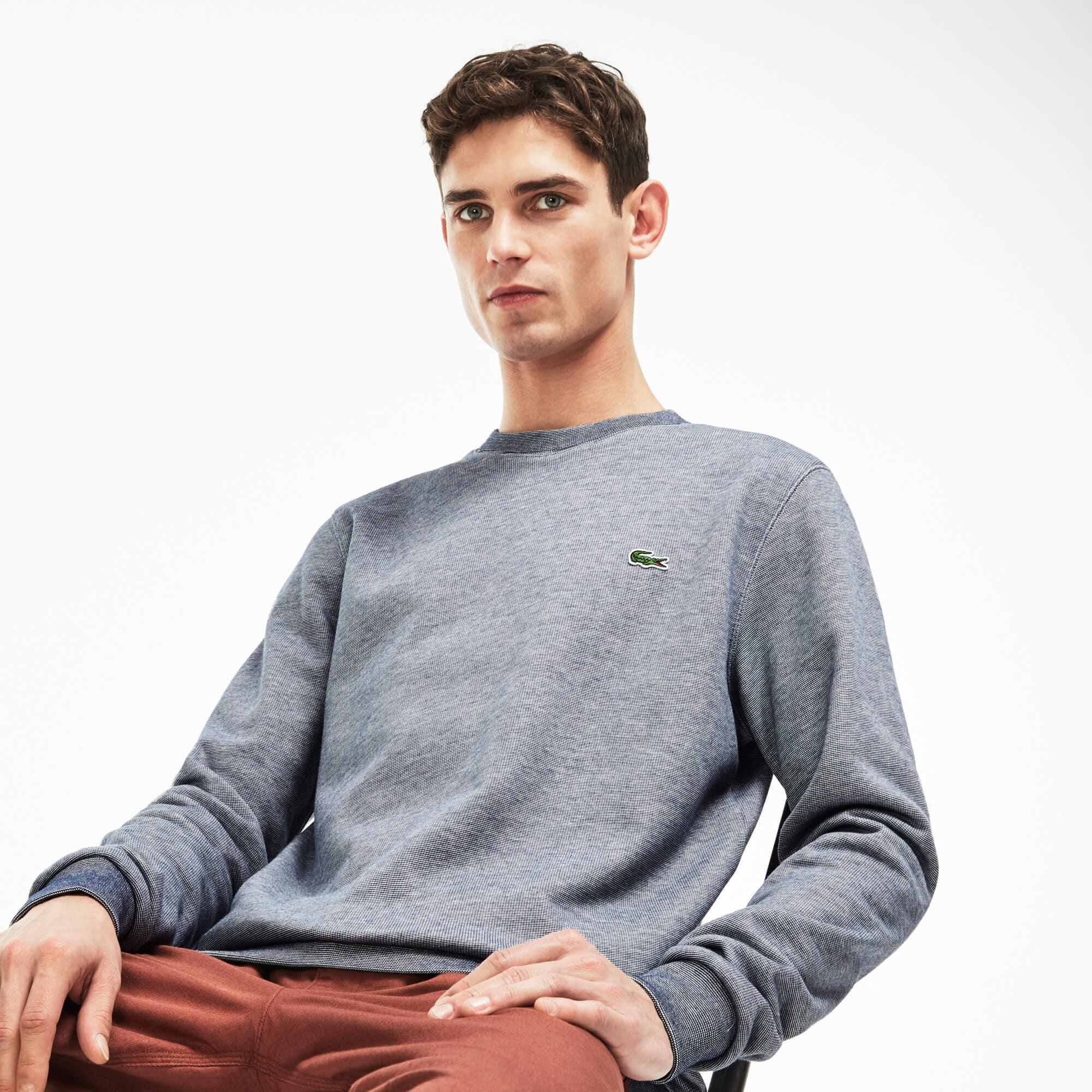 Sweatshirt heren ronde hals geborstelde gestreepte fleece