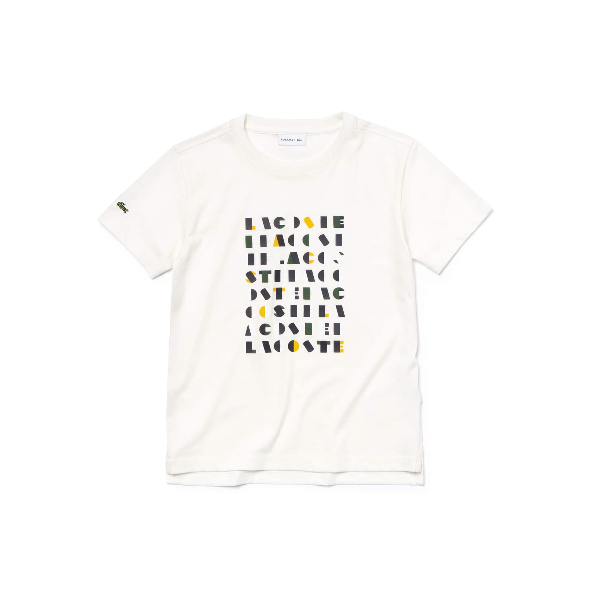 T-shirt jongens katoenjersey ronde hals grafische Lacoste-letters
