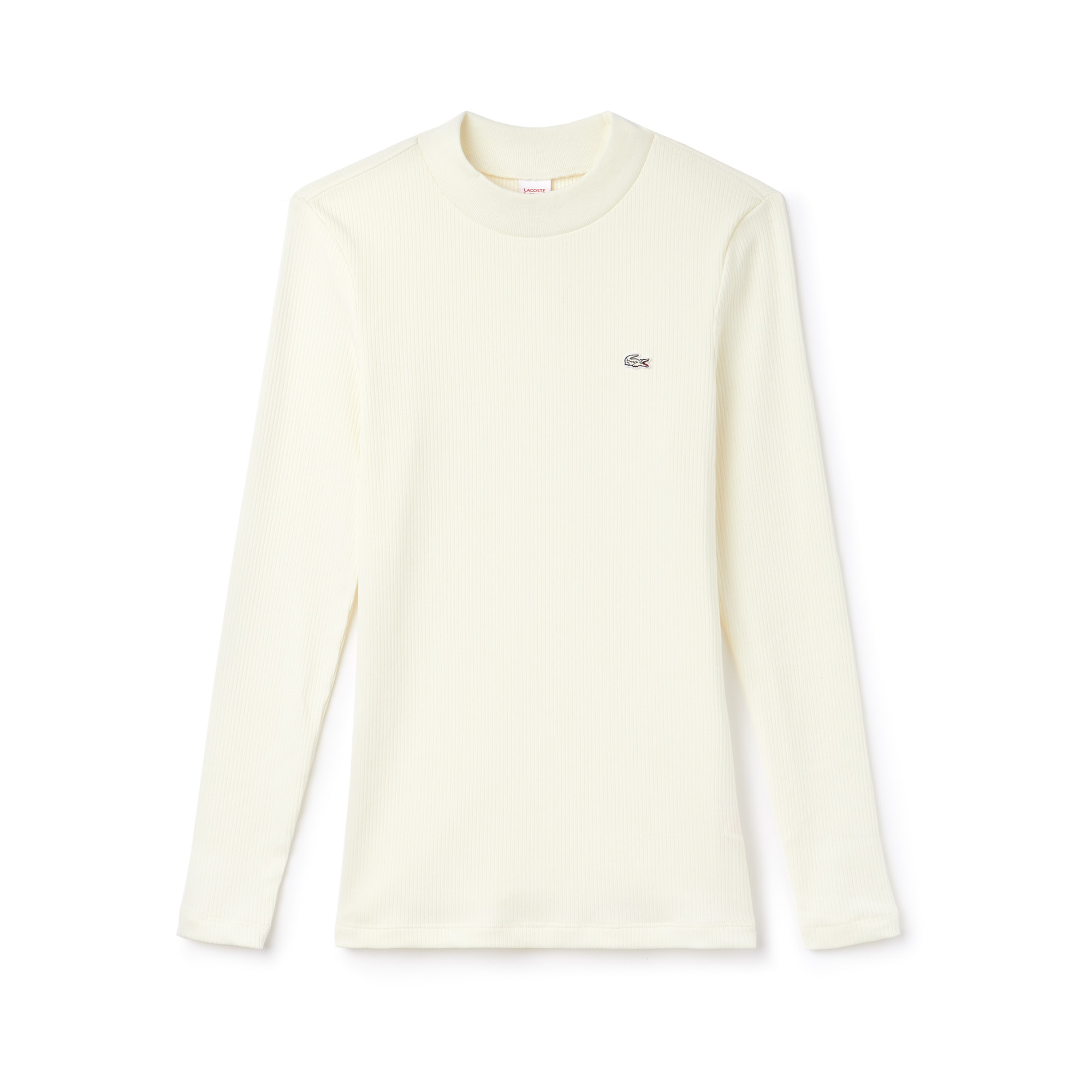 Women's Lacoste LIVE Stand-Up Collar Ribbed Cotton T-shirt