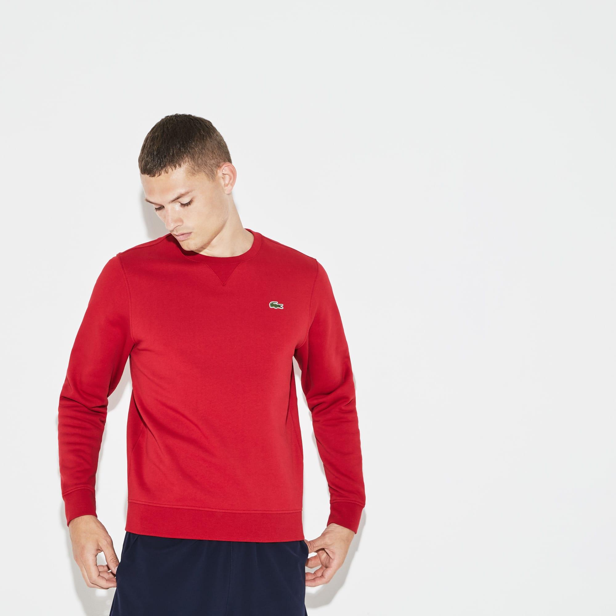 Lacoste SPORT sweater van effen molton met ronde hals