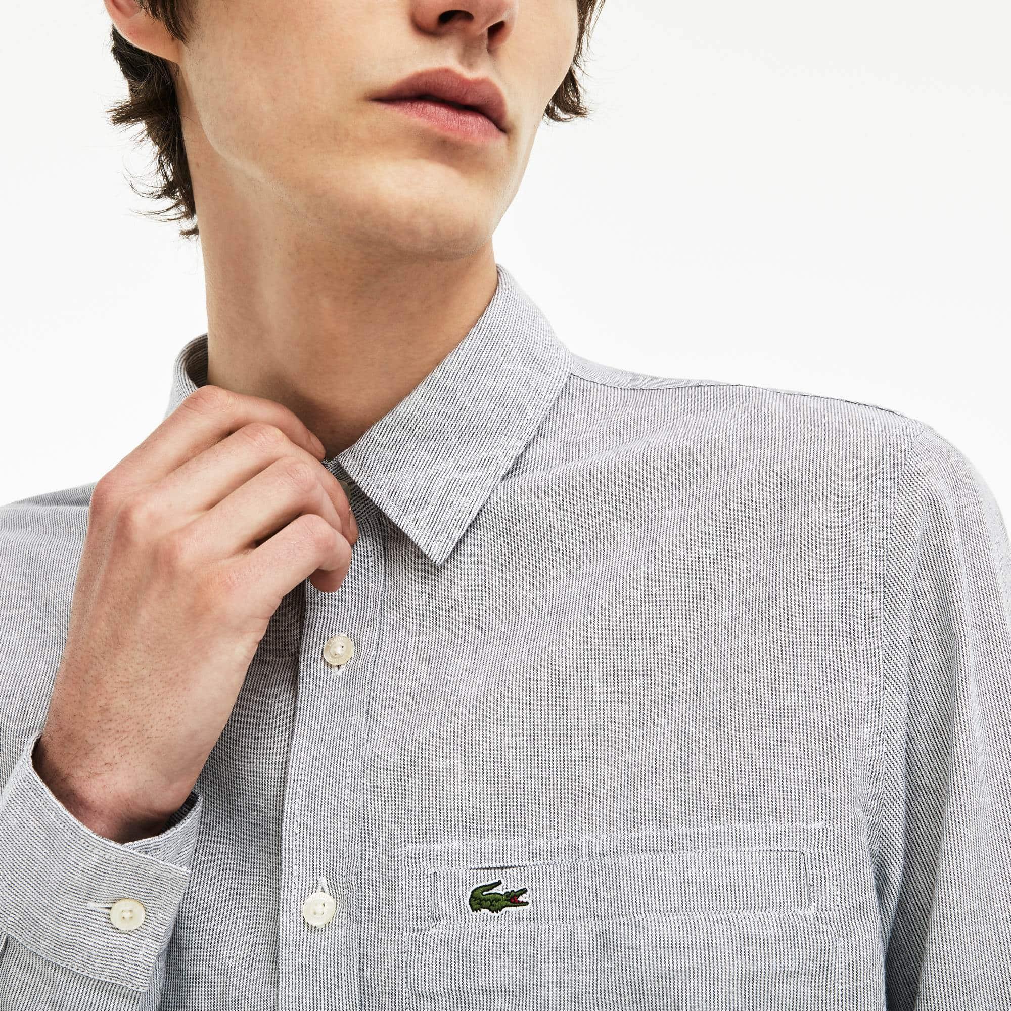 Shirt heren regular fit gestreepte katoenpopeline en linnen