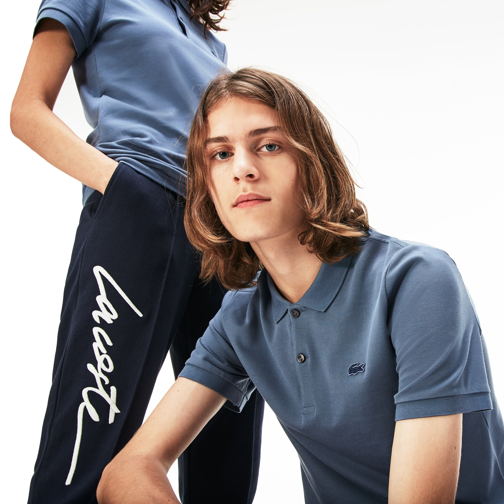 Lacoste LIVE-polo unisex slim fit mini-piqué met stretch