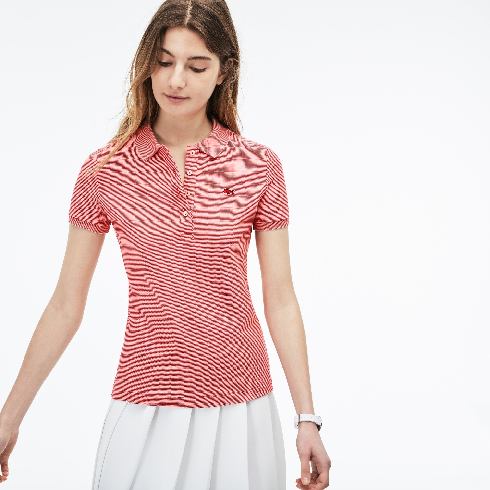 Lacoste polo dames slim fit,stretch mini piqué met krijtstreepjes