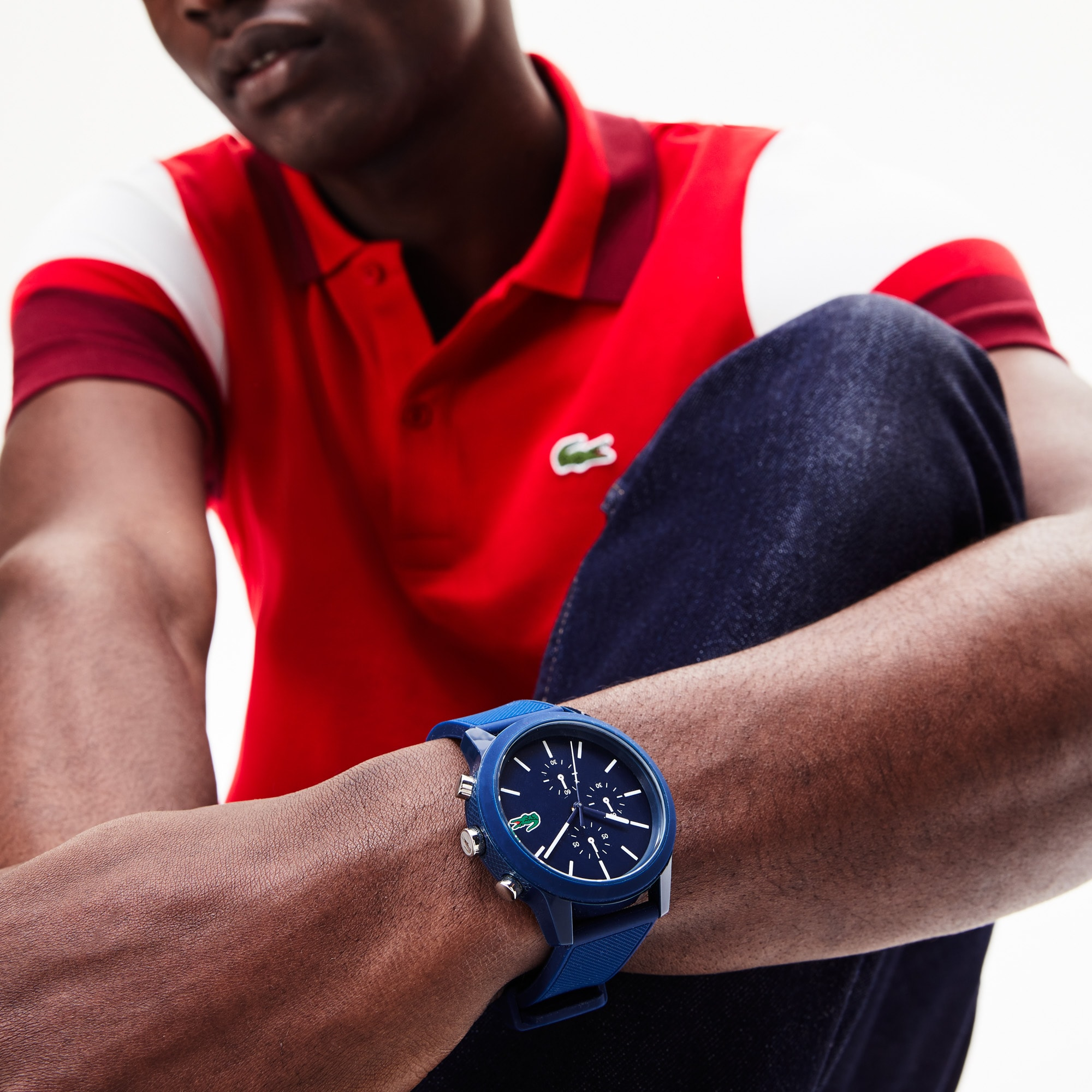 Men's Lacoste 12.12 Chronograph Watch with Blue Silicone Strap