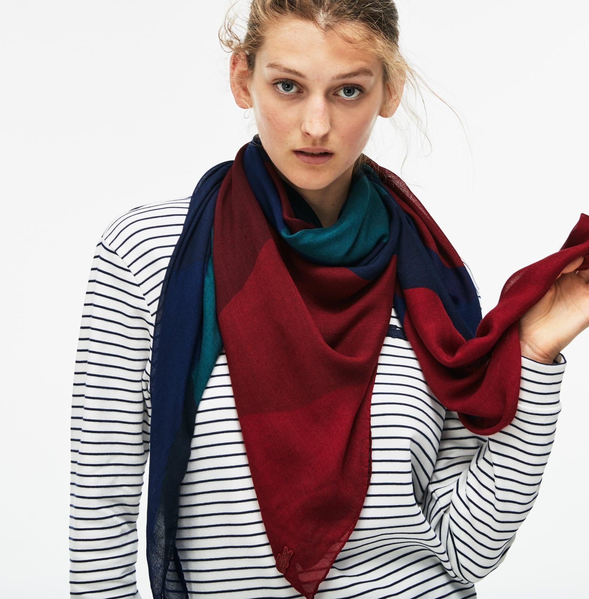 Sjaal dames wol-canvas met colorblock