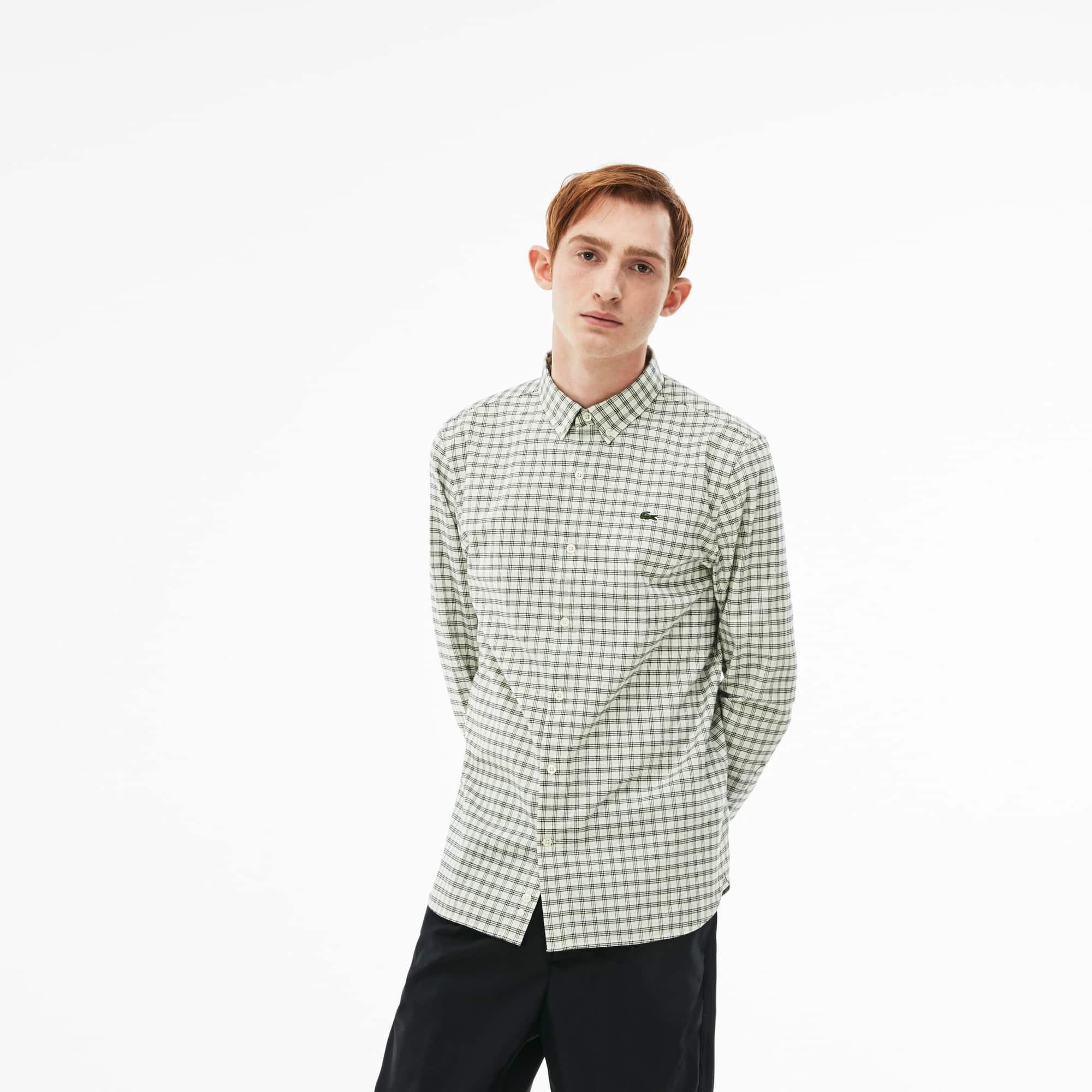 Lacoste LIVE-shirt heren slim fit geruit Oxfordkatoen