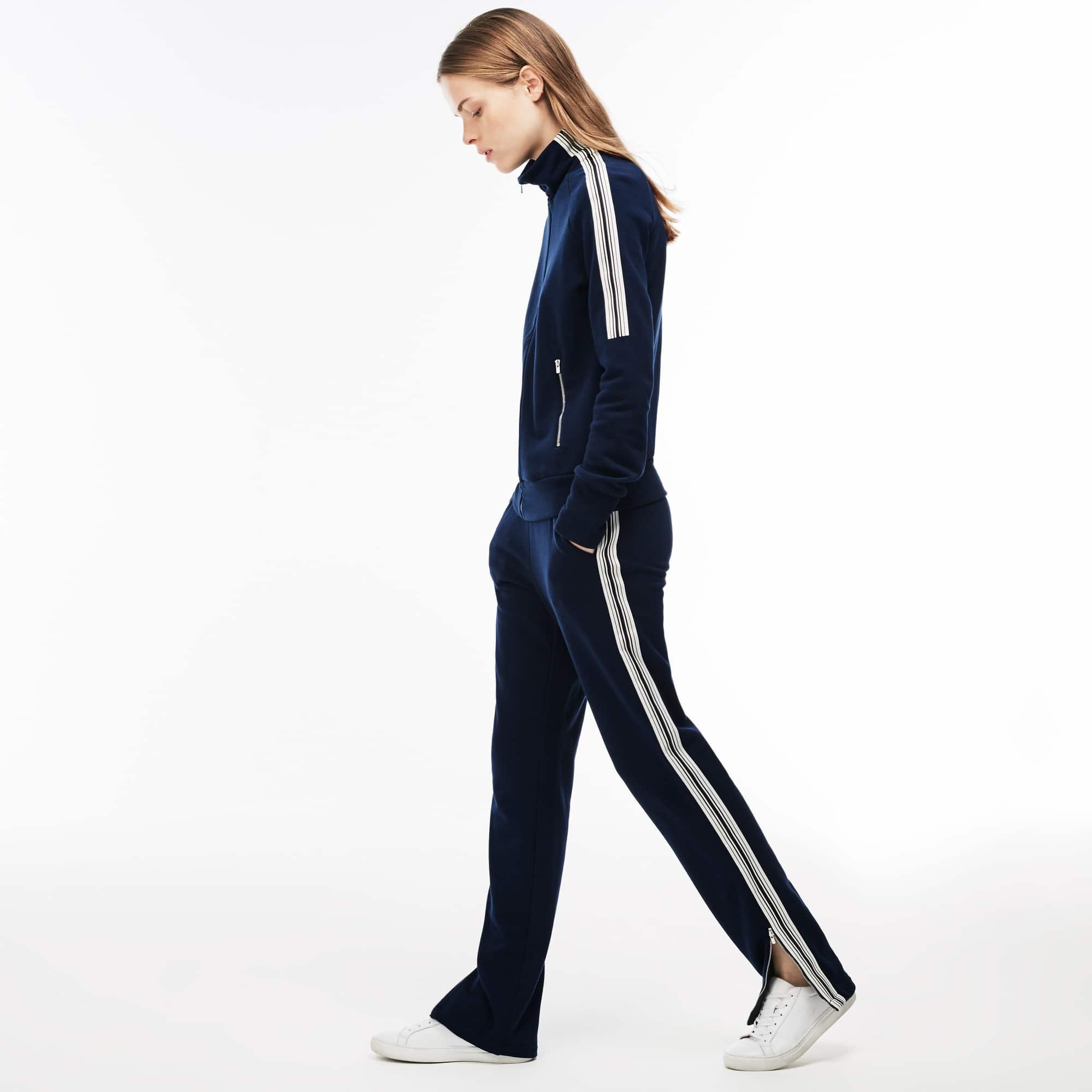 Joggingbroek dames crêpe-fleece urban met contrasterende strepen