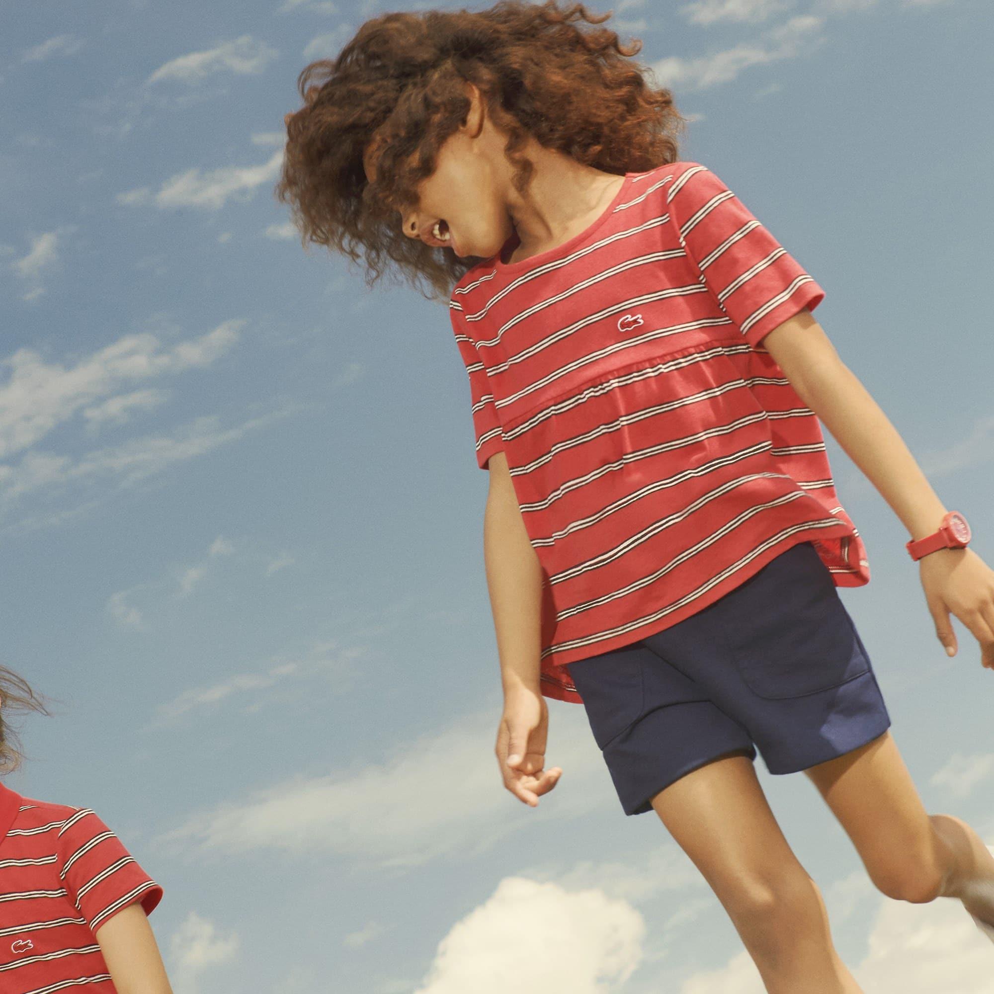T-shirt meisjes ronde hals gestreept linnen en jersey