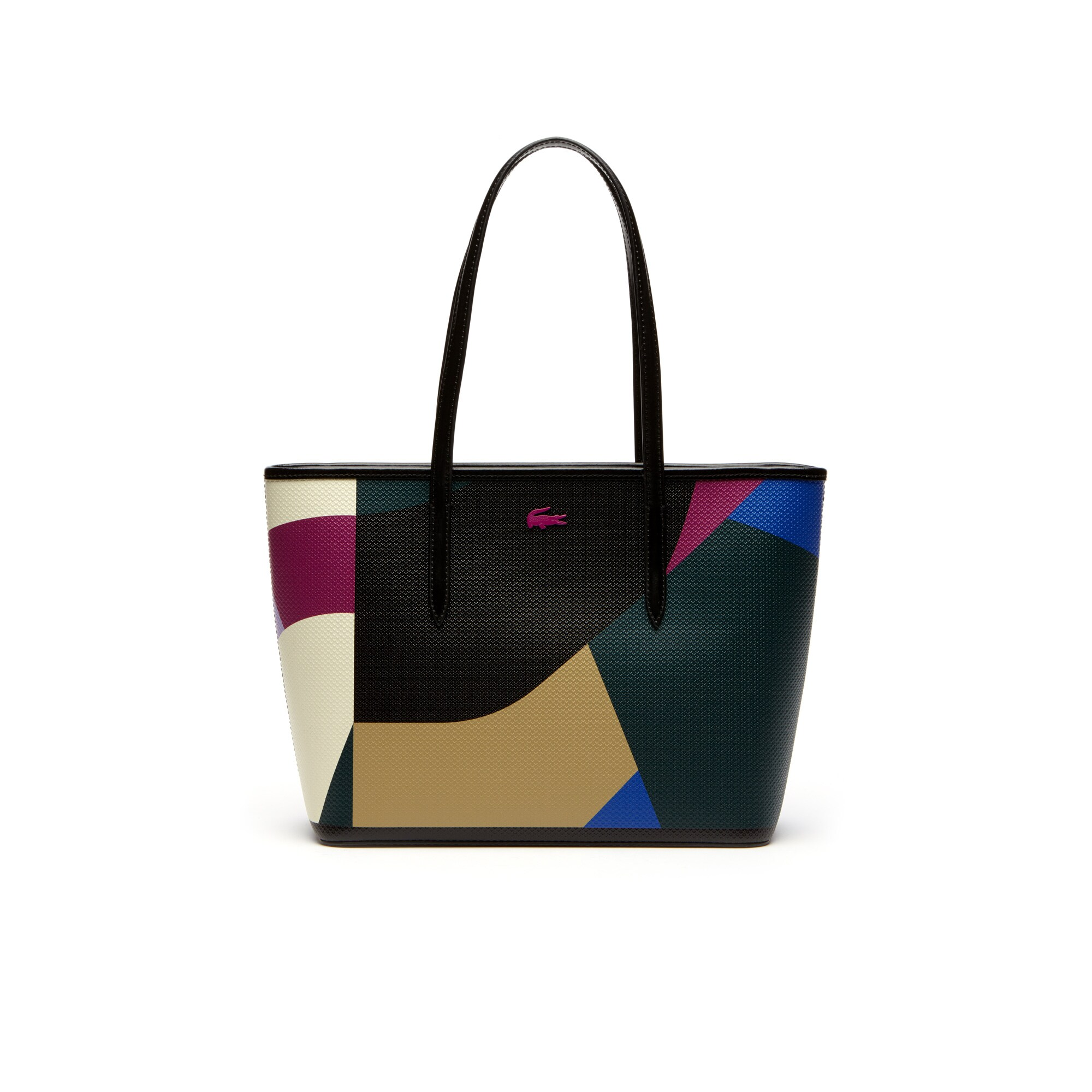 Chantaco-shopper dames leer met colorblock-print en rits