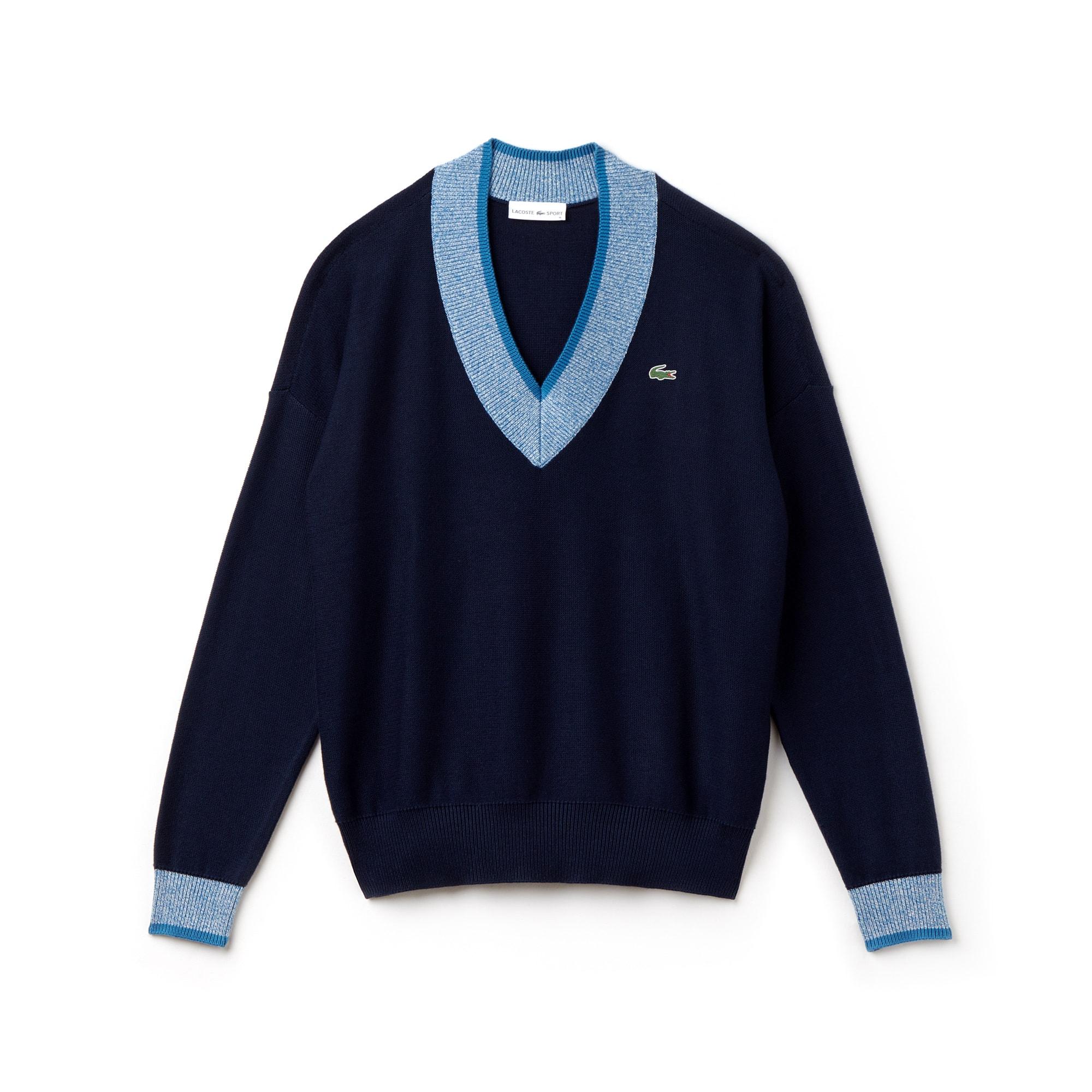 Lacoste SPORT Golf-sweater dames jersey met V-hals en contrasterende afwerking