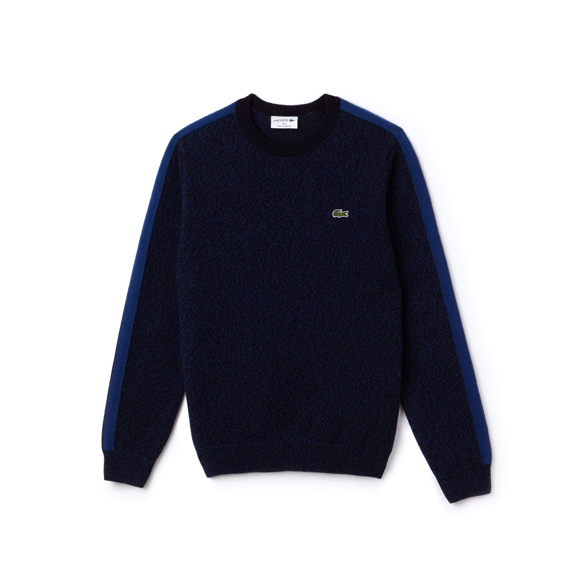 Made in France-sweater heren ronde hals jersey met contrasterende stroken