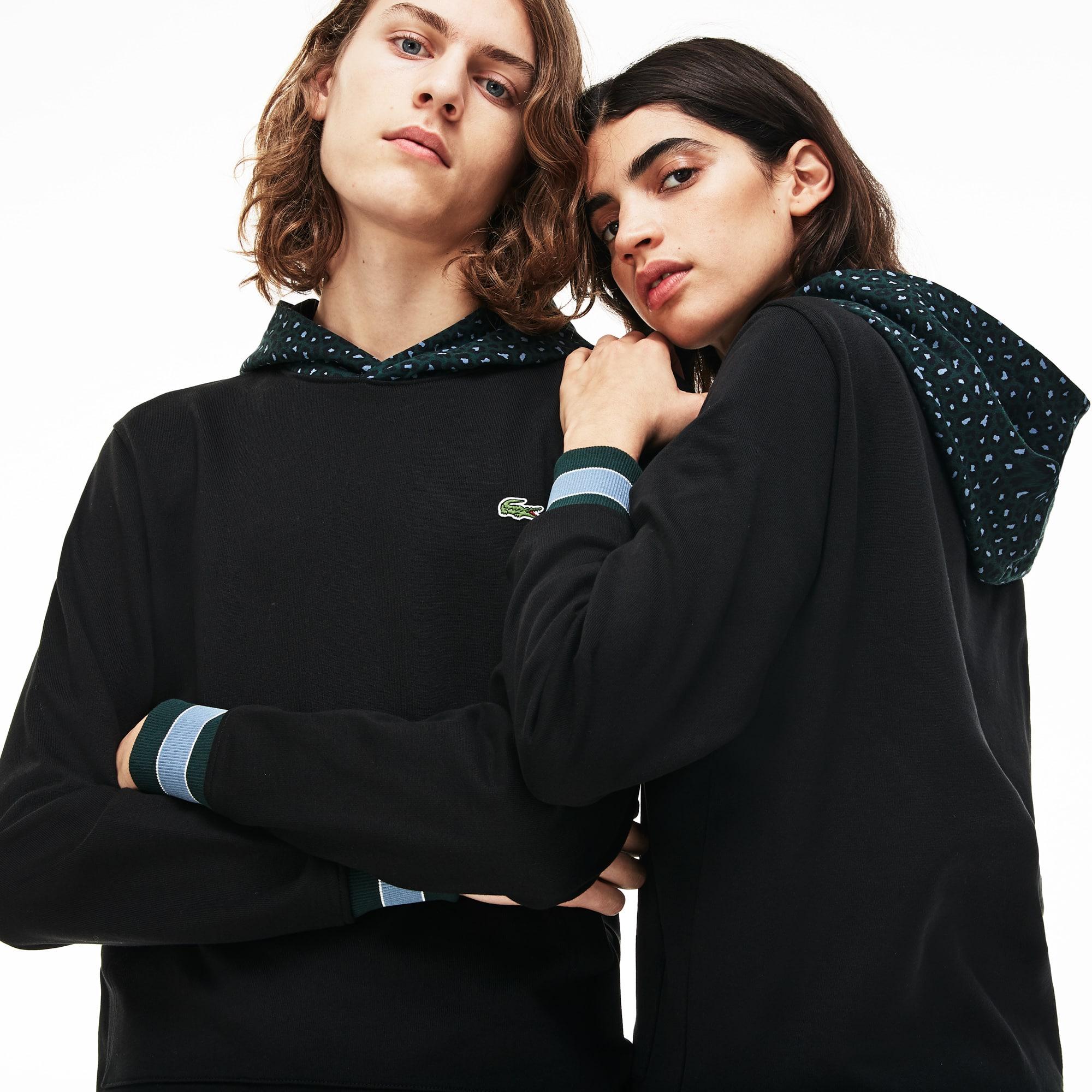 Lacoste LIVE-sweatshirt heren fleece met capuchon en panterprint
