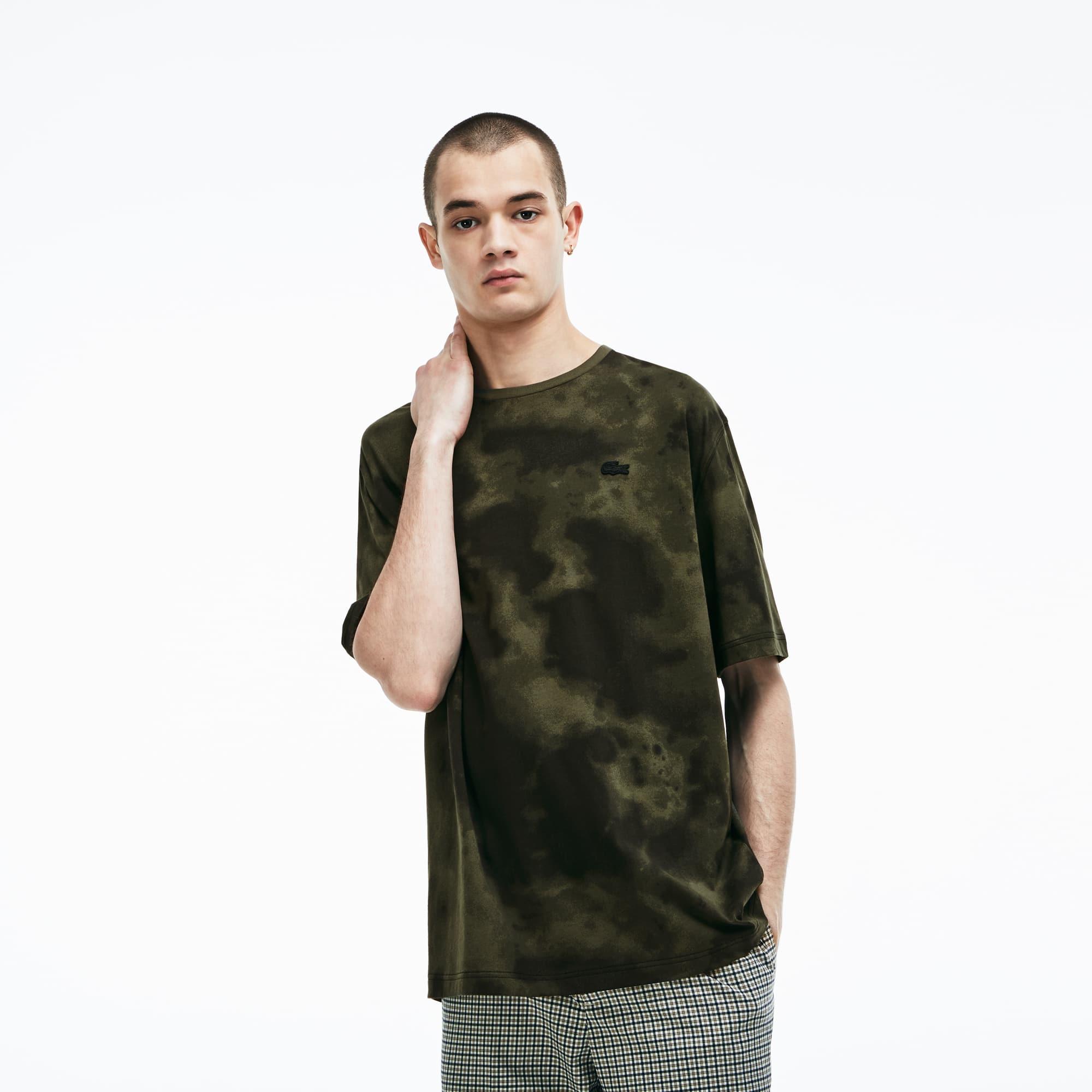 Lacoste LIVE-T-shirt heren katoenjersey met ronde hals en wolkenprint