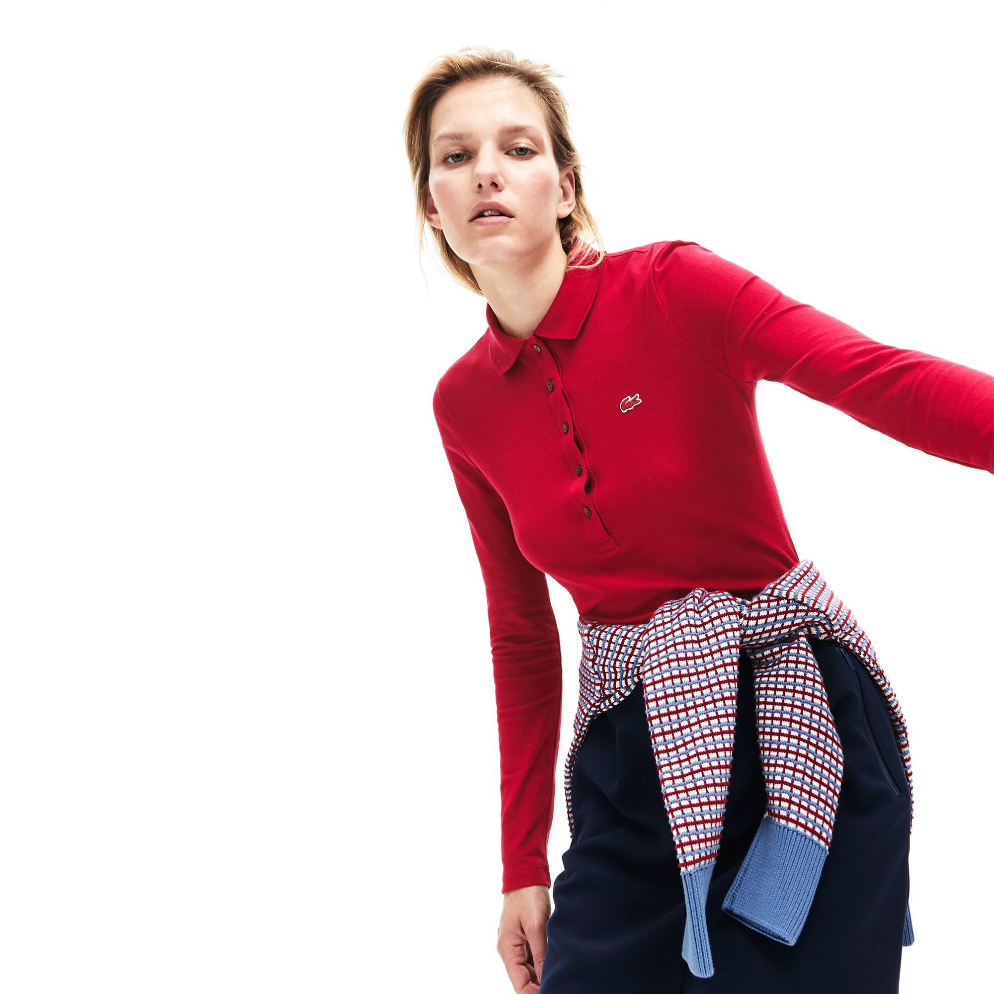 Lacoste-polo Dames Slim Fit Mini-piqué met Stretch