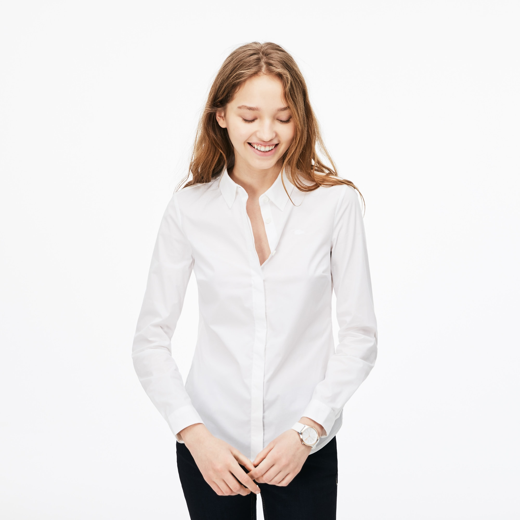 Shirt Dames Slim Fit Katoenpopeline met Stretch