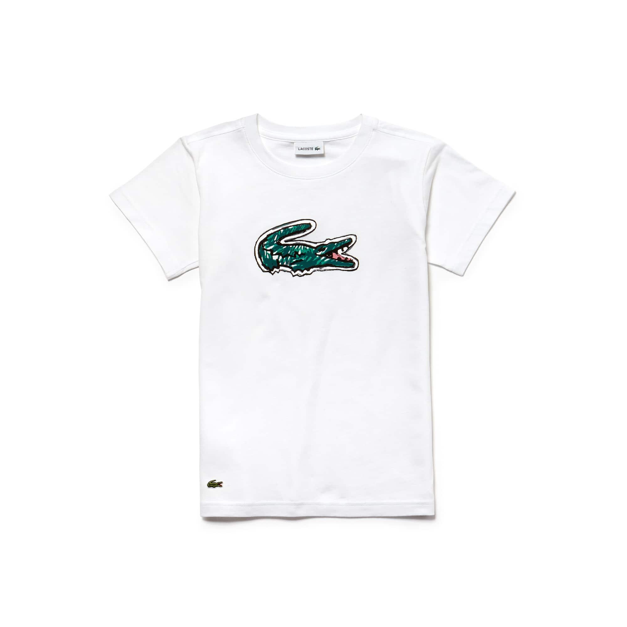 T-shirt jongens indigojersey met ronde hals en krokodillenprint